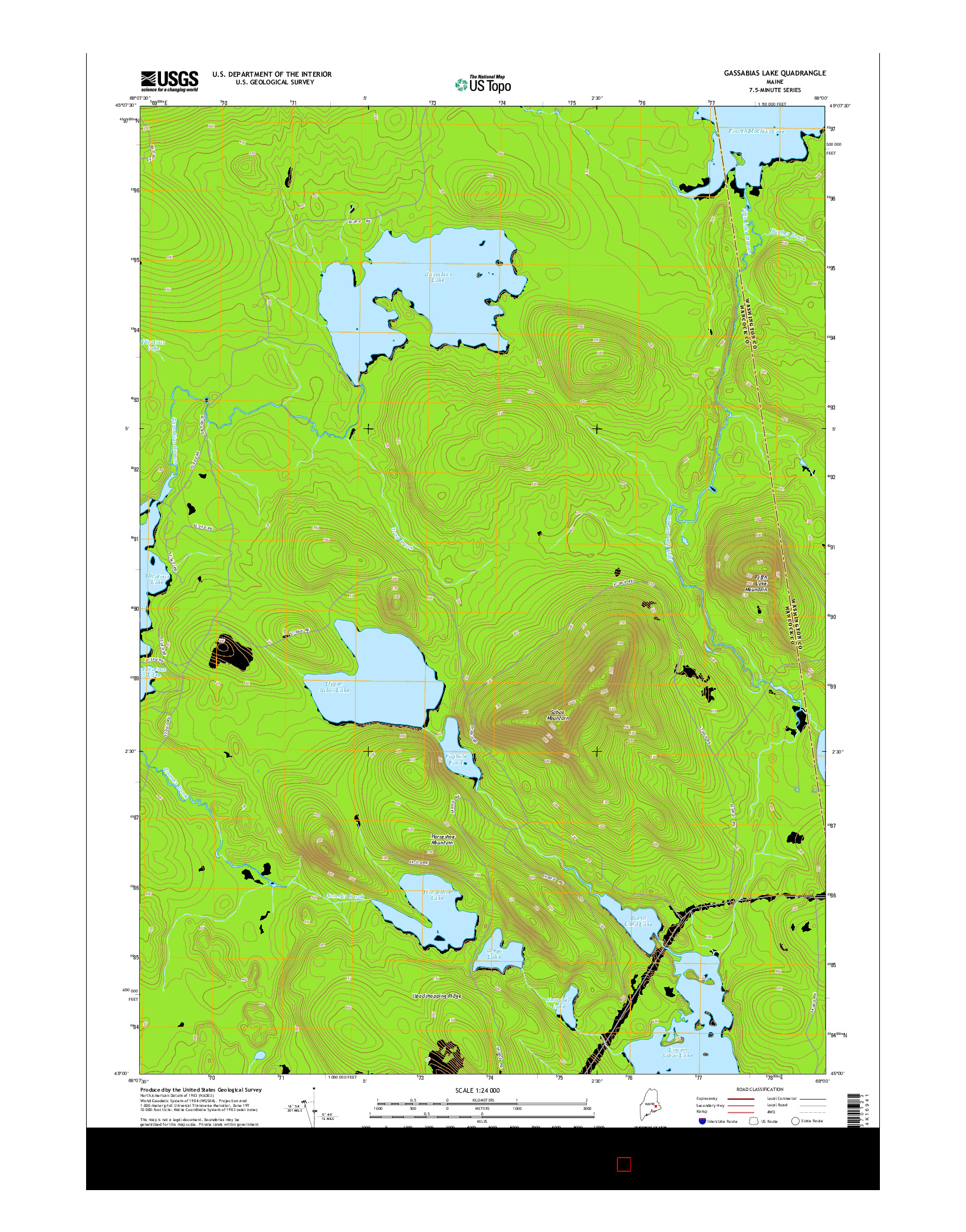 USGS US TOPO 7.5-MINUTE MAP FOR GASSABIAS LAKE, ME 2014