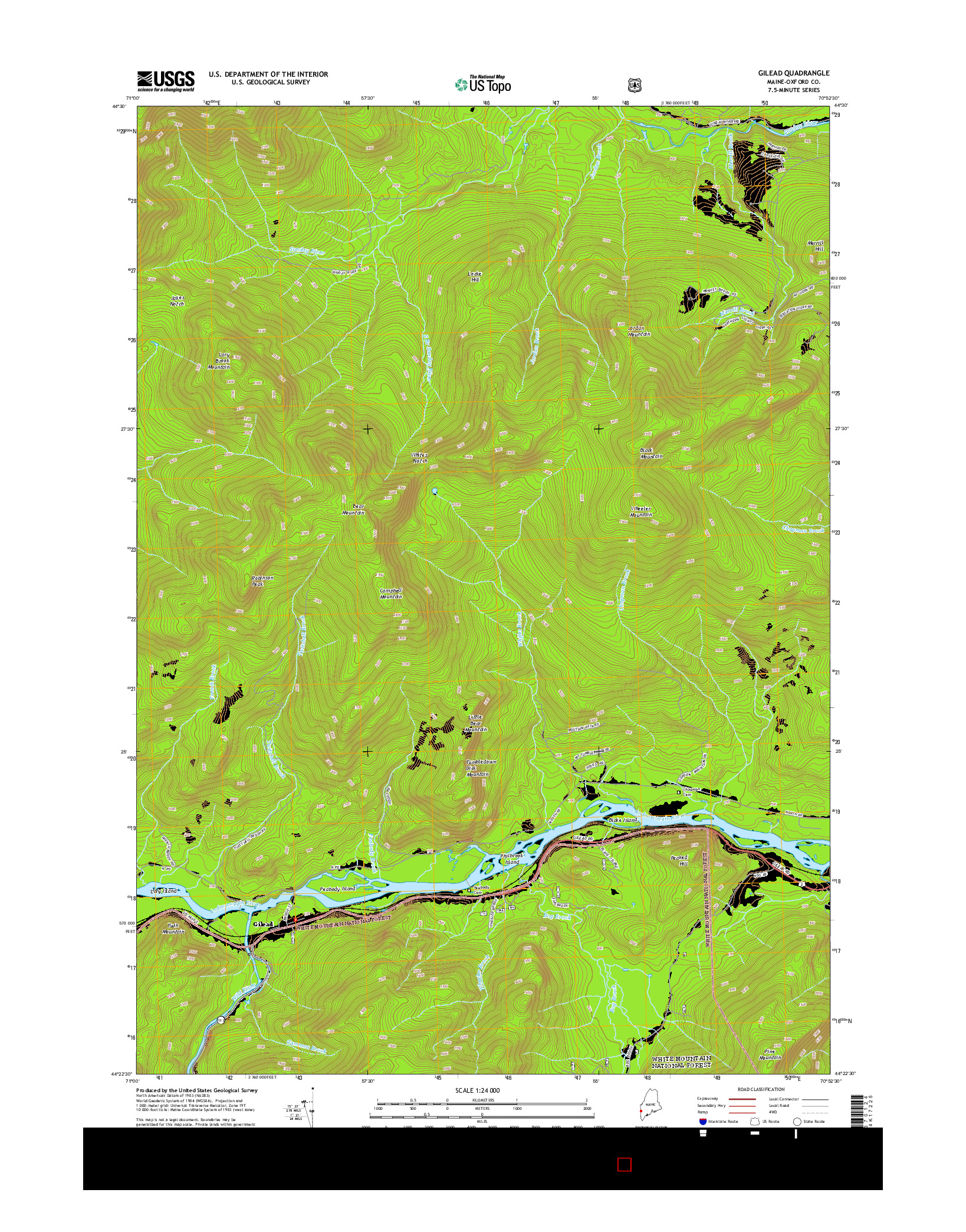 USGS US TOPO 7.5-MINUTE MAP FOR GILEAD, ME 2014