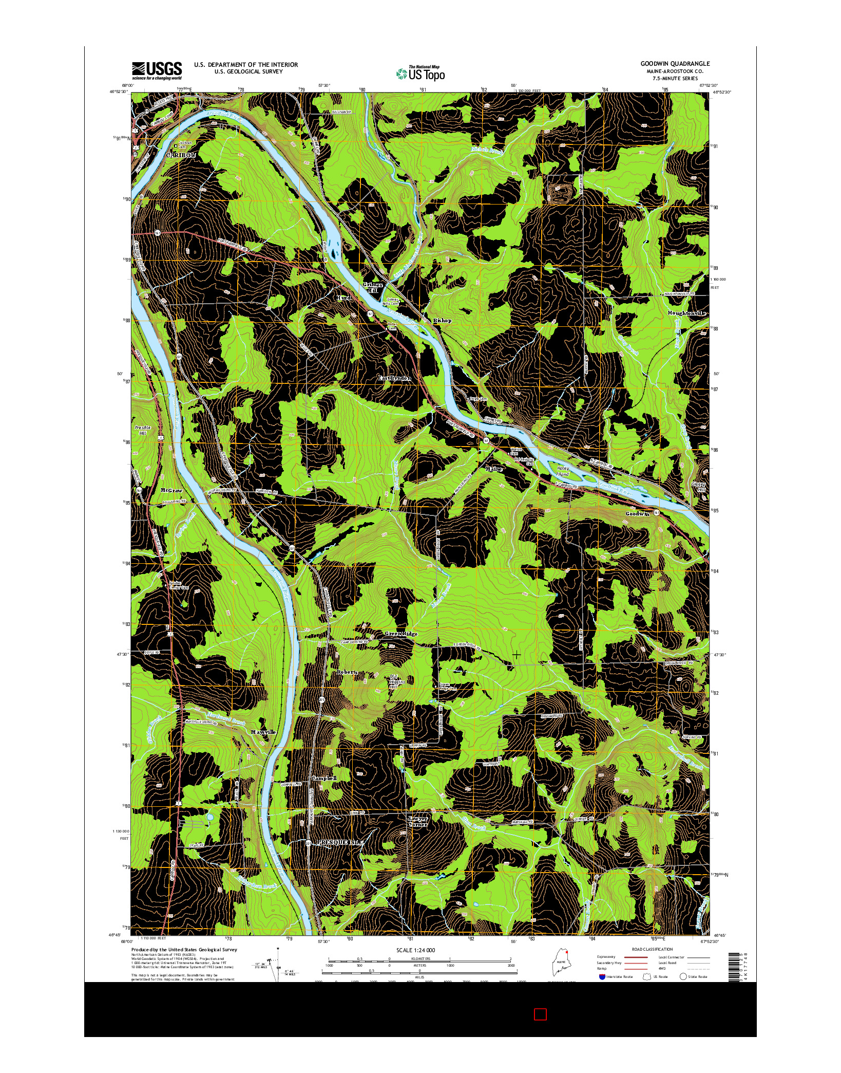 USGS US TOPO 7.5-MINUTE MAP FOR GOODWIN, ME 2014