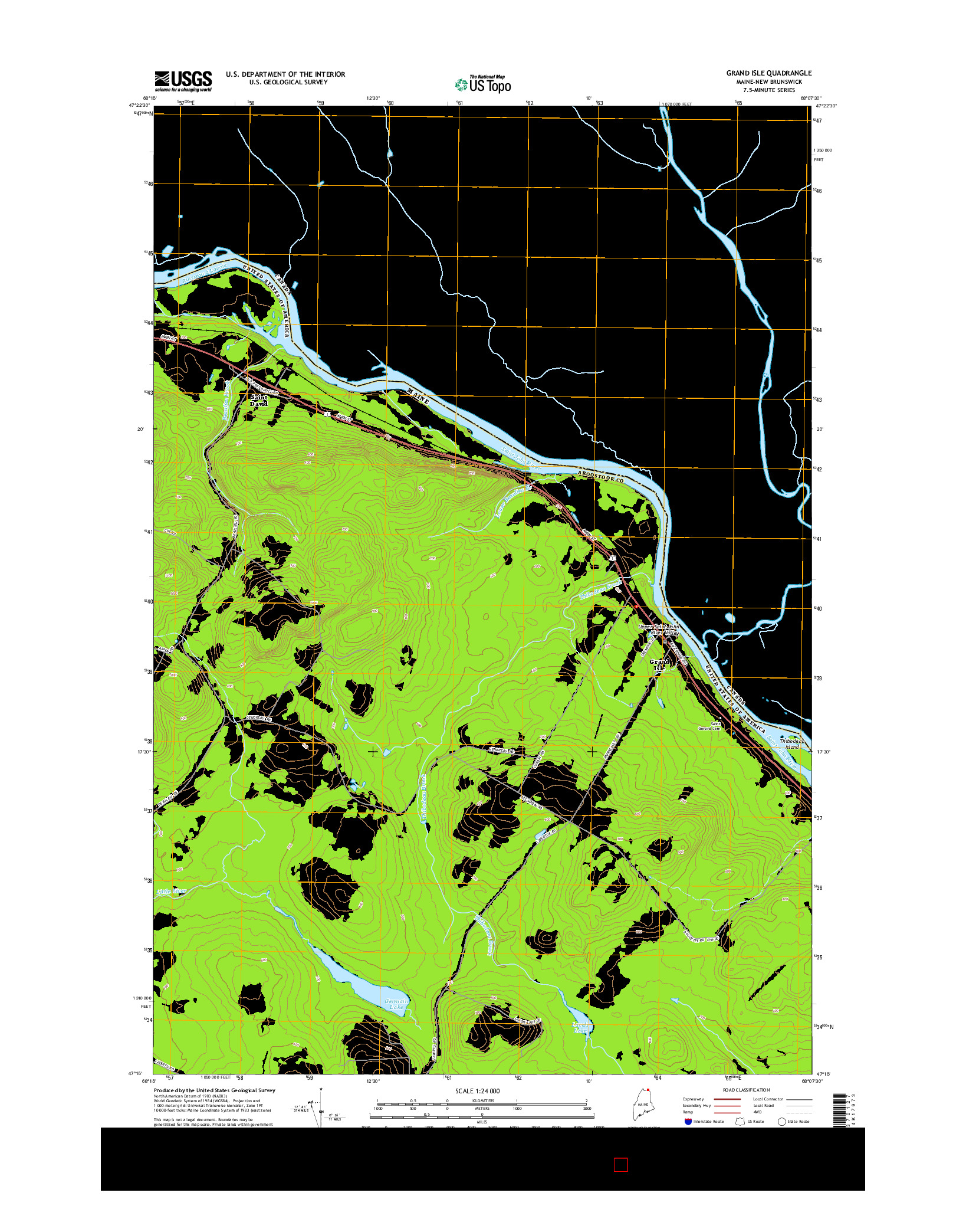 USGS US TOPO 7.5-MINUTE MAP FOR GRAND ISLE, ME-NB 2014