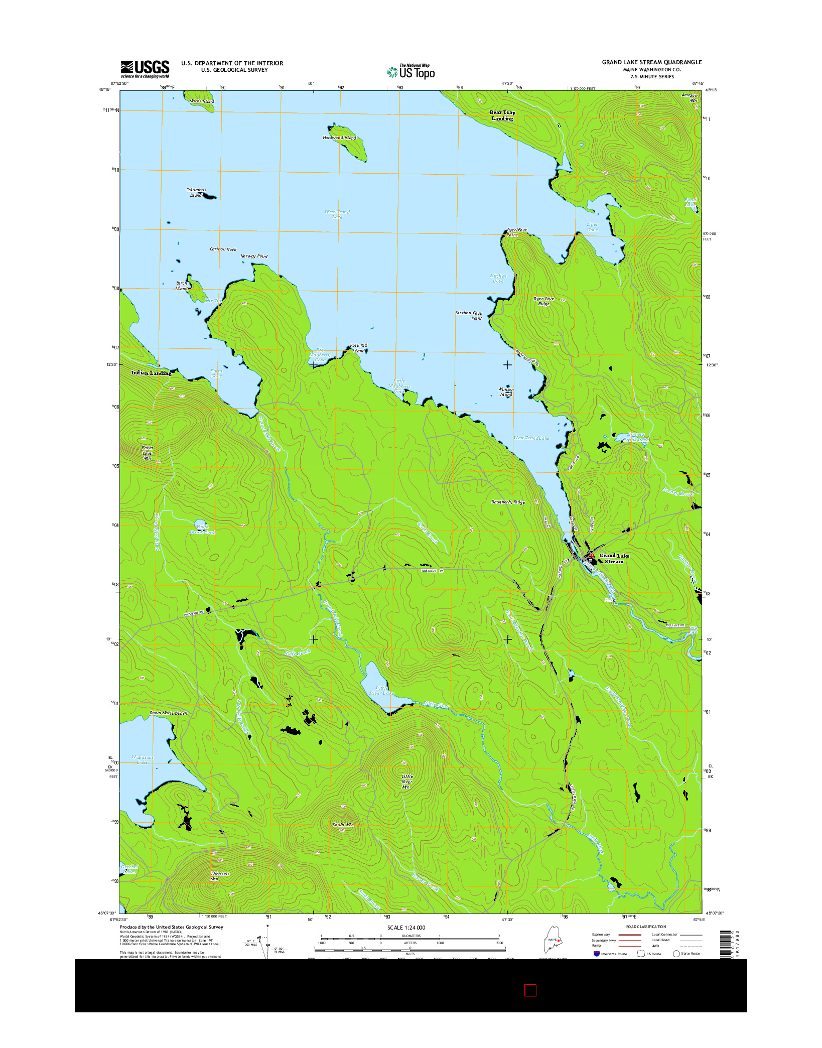 USGS US TOPO 7.5-MINUTE MAP FOR GRAND LAKE STREAM, ME 2014