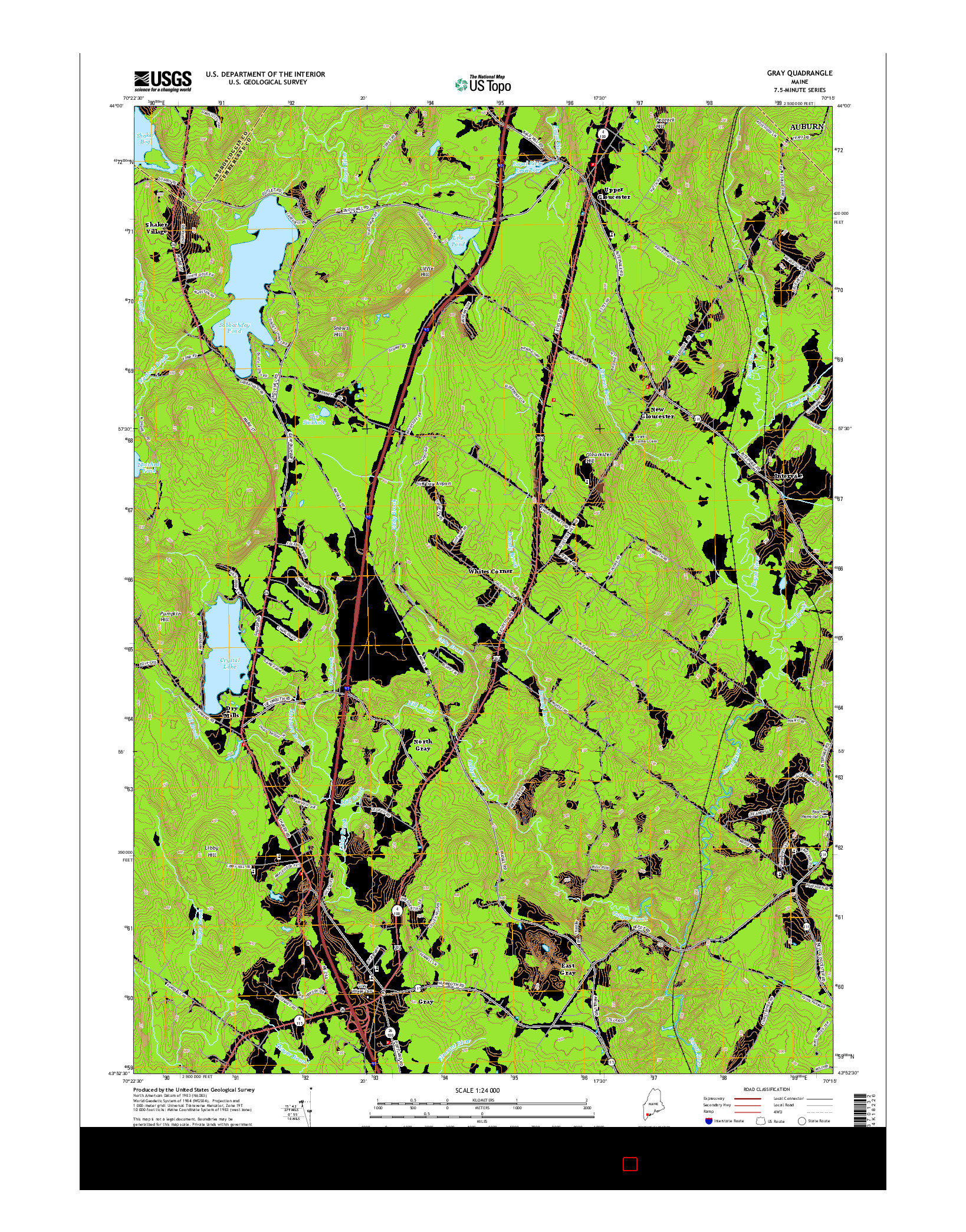 USGS US TOPO 7.5-MINUTE MAP FOR GRAY, ME 2014