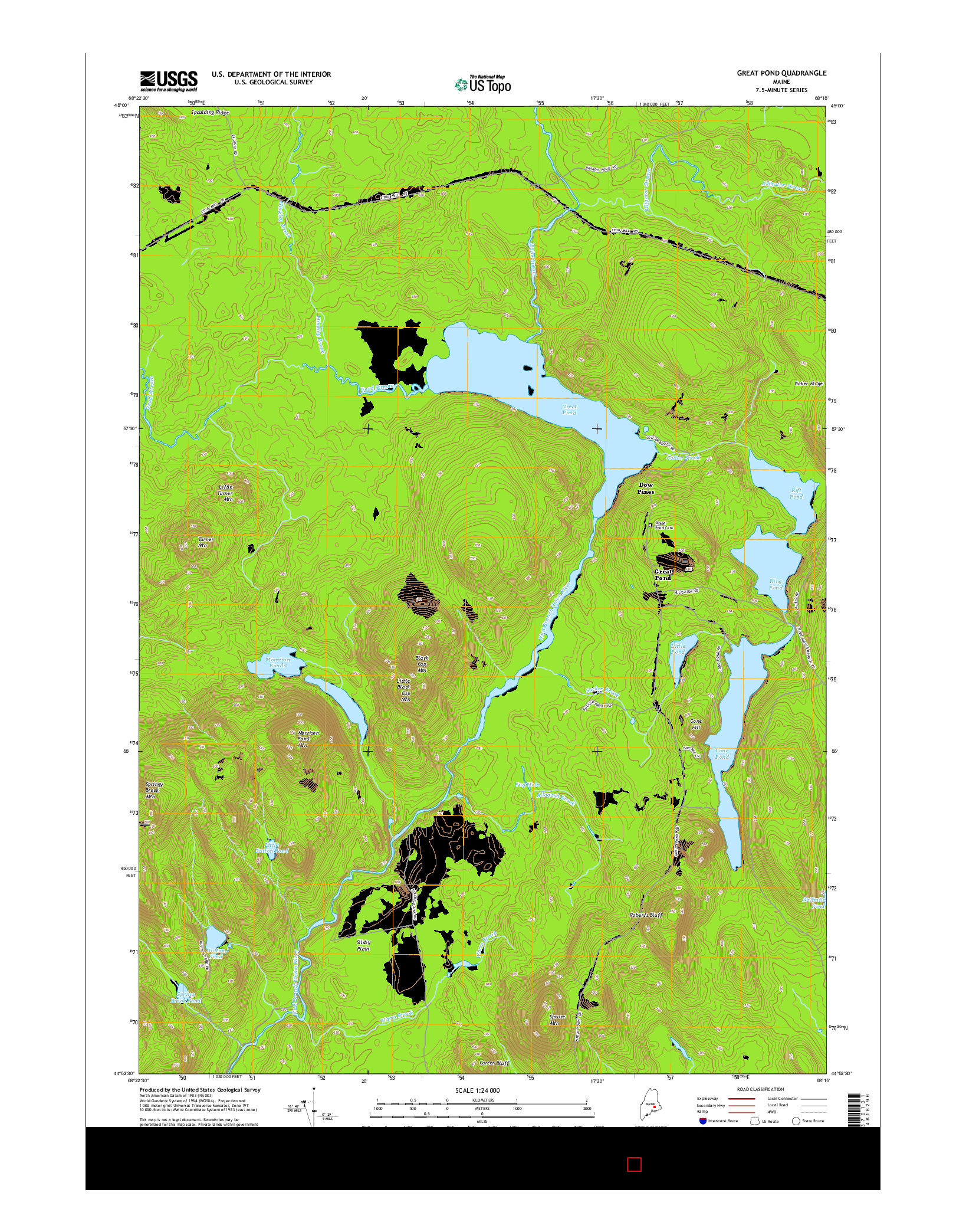 USGS US TOPO 7.5-MINUTE MAP FOR GREAT POND, ME 2014