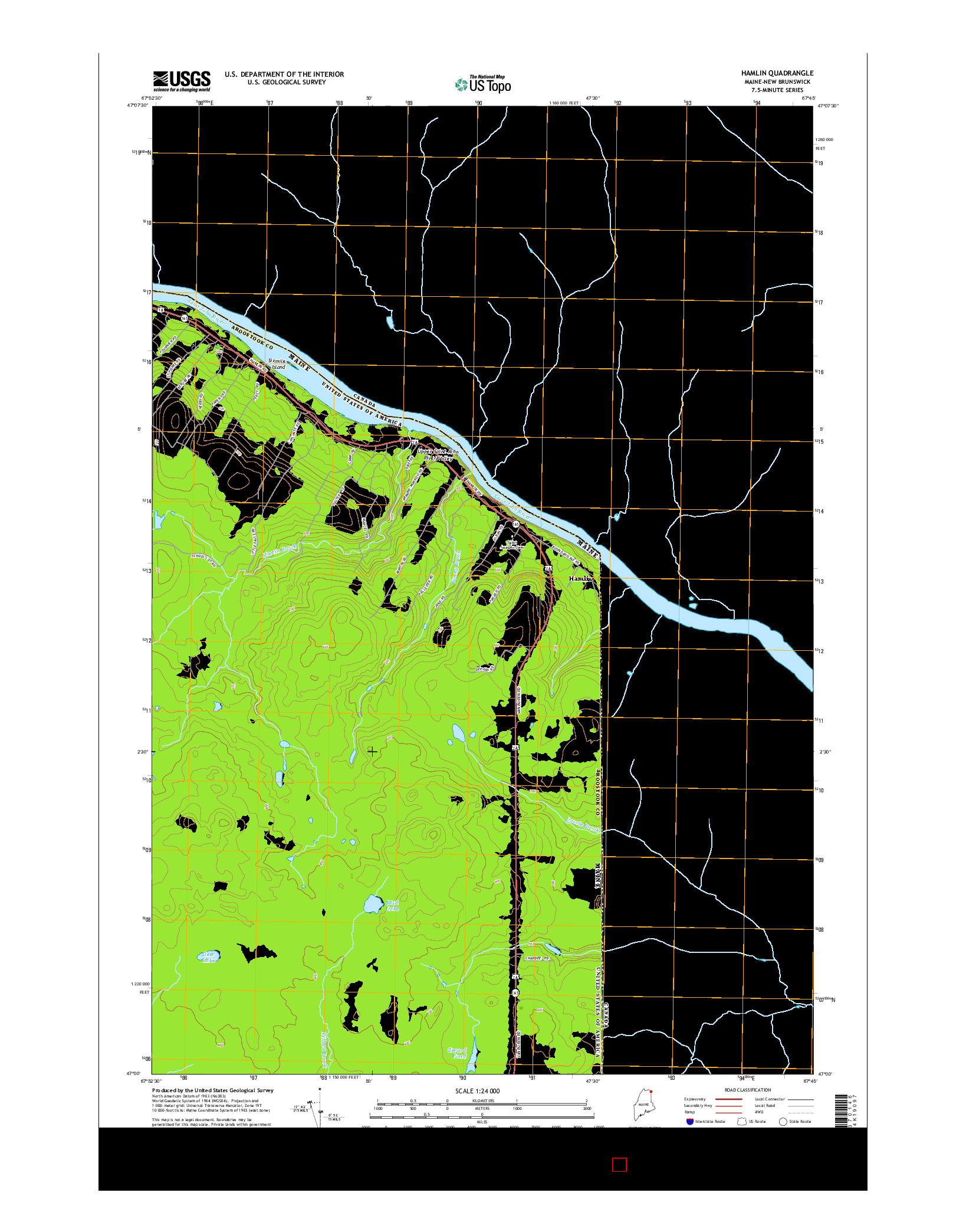 USGS US TOPO 7.5-MINUTE MAP FOR HAMLIN, ME-NB 2014
