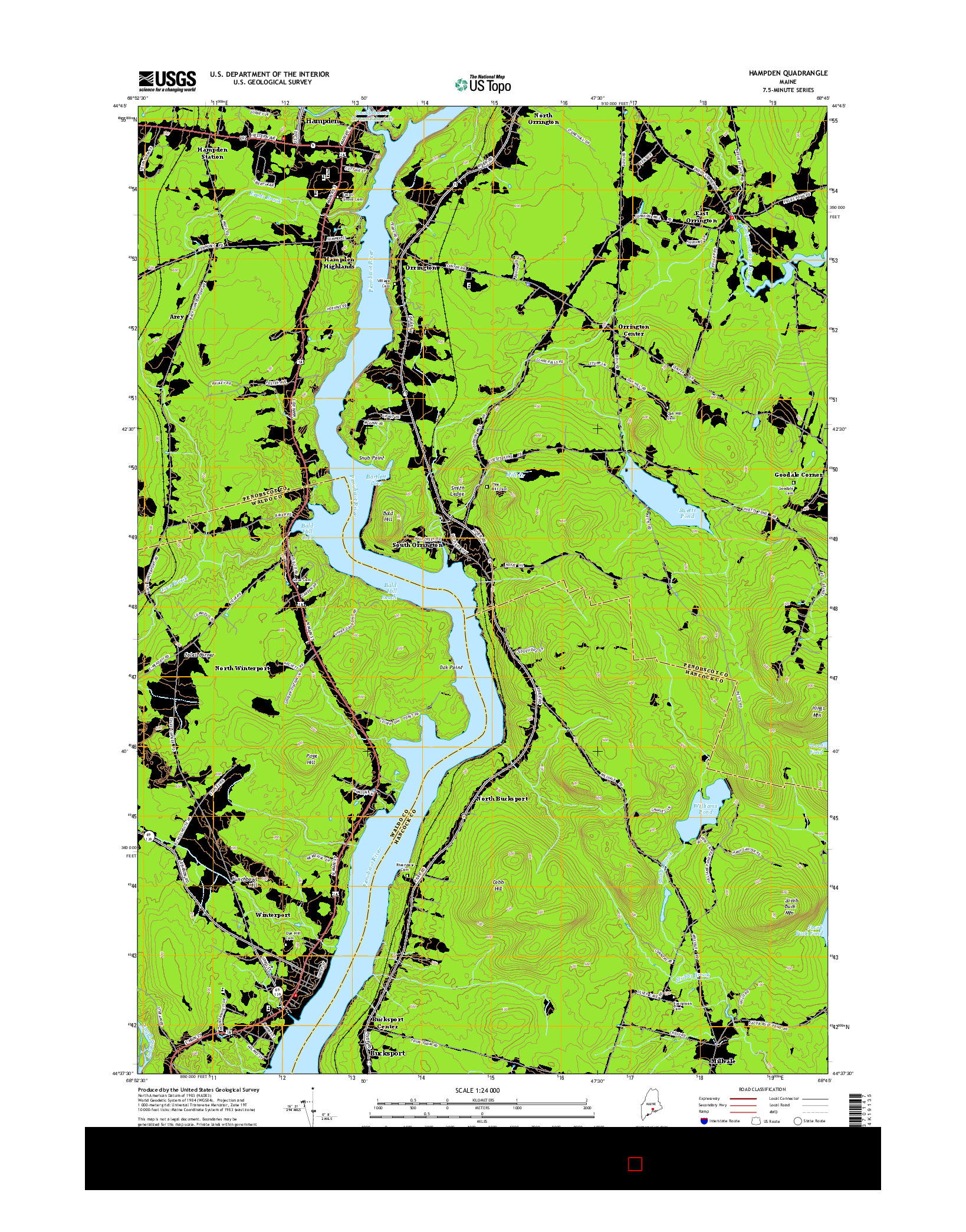 USGS US TOPO 7.5-MINUTE MAP FOR HAMPDEN, ME 2014