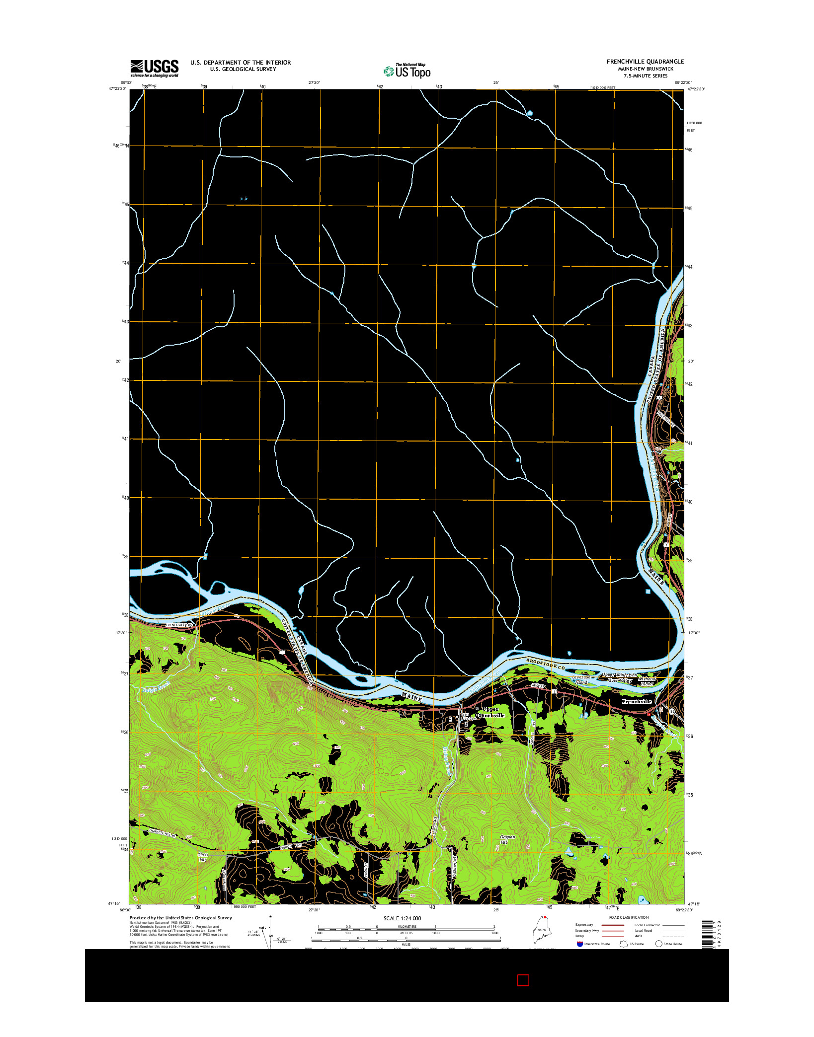 USGS US TOPO 7.5-MINUTE MAP FOR FRENCHVILLE, ME-NB 2014