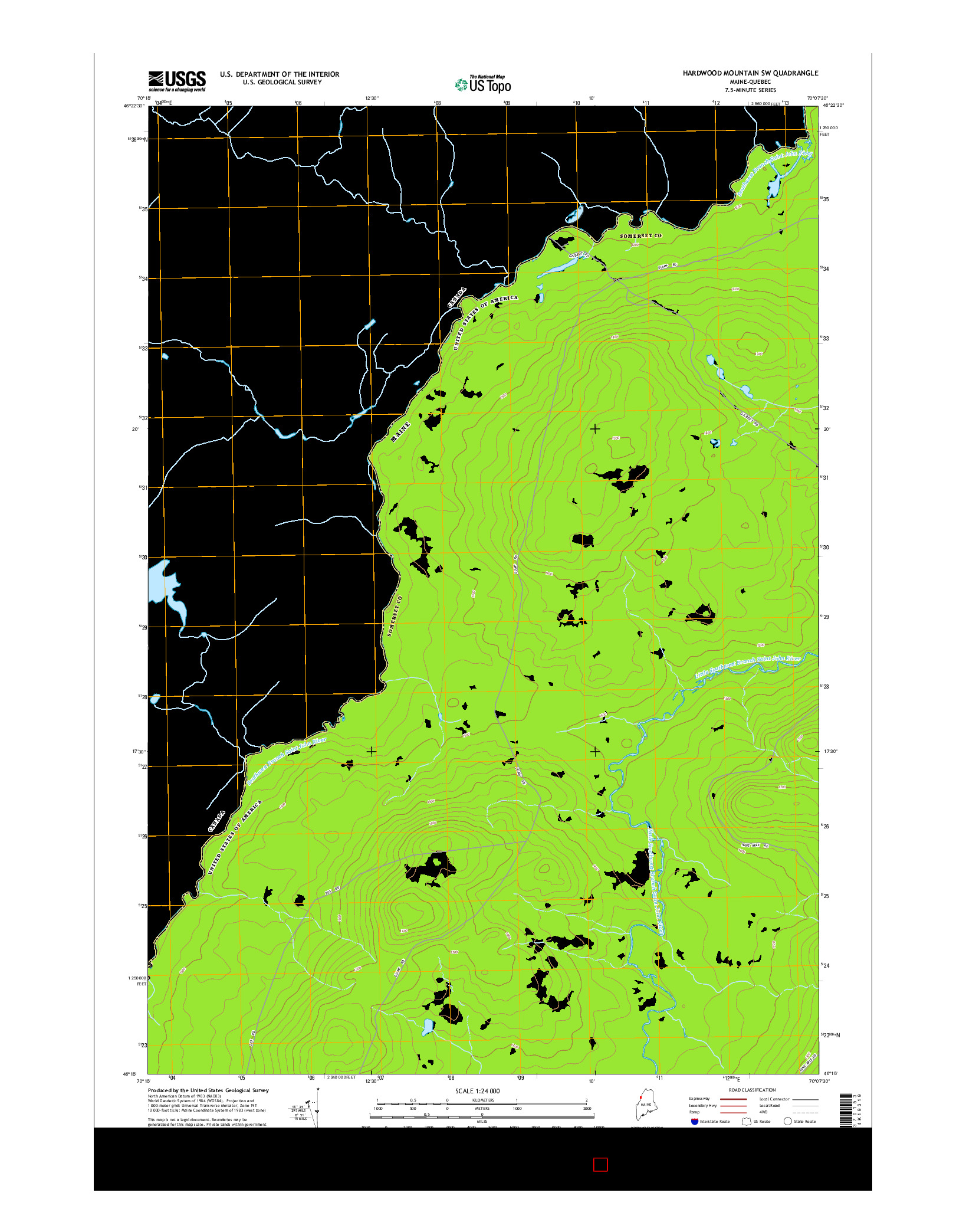 USGS US TOPO 7.5-MINUTE MAP FOR HARDWOOD MOUNTAIN SW, ME-QC 2014