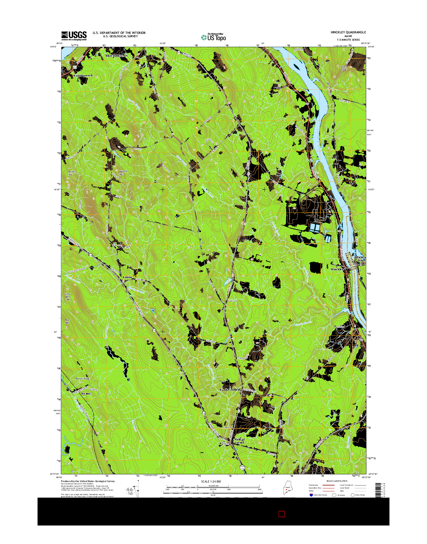 USGS US TOPO 7.5-MINUTE MAP FOR HINCKLEY, ME 2014