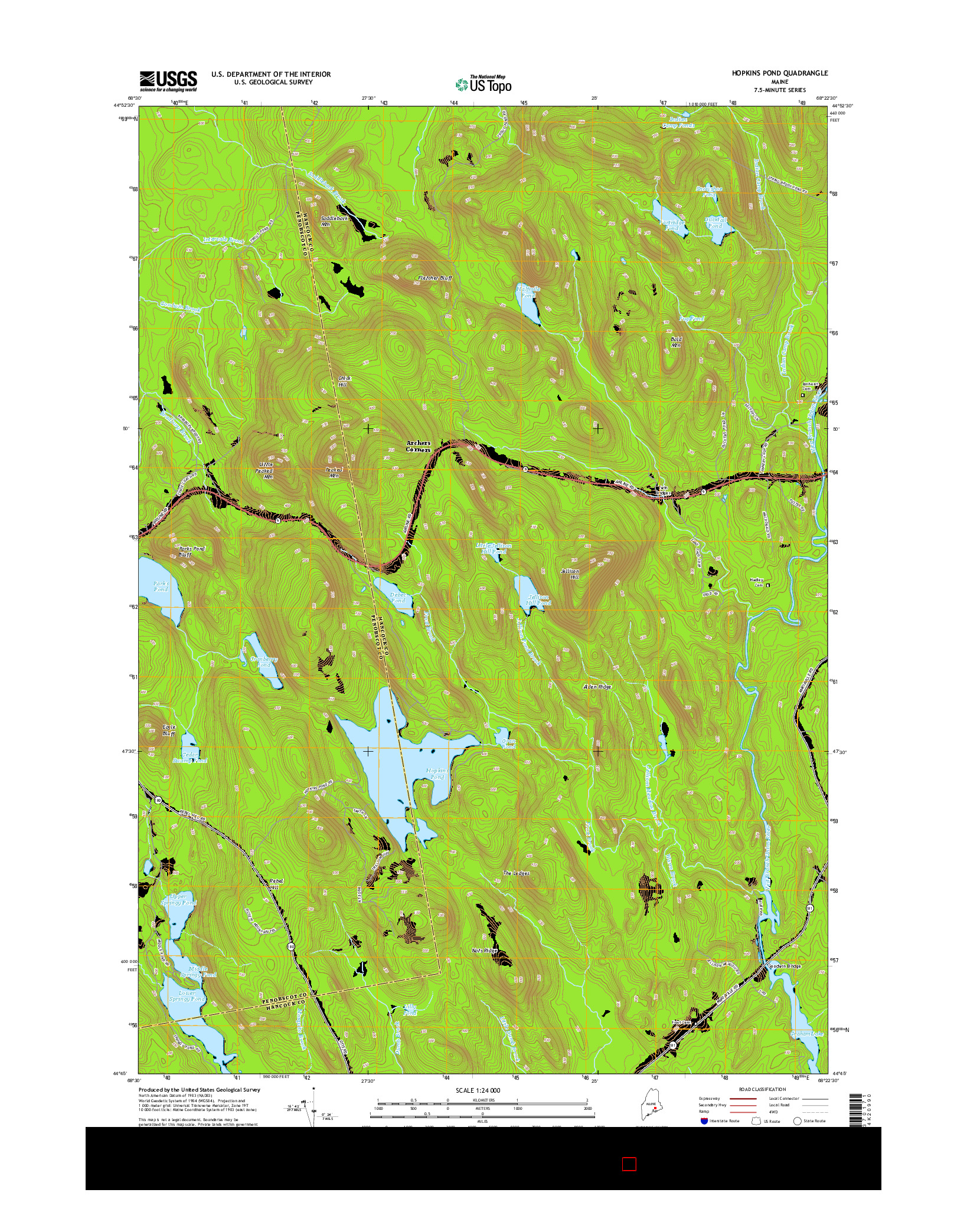 USGS US TOPO 7.5-MINUTE MAP FOR HOPKINS POND, ME 2014