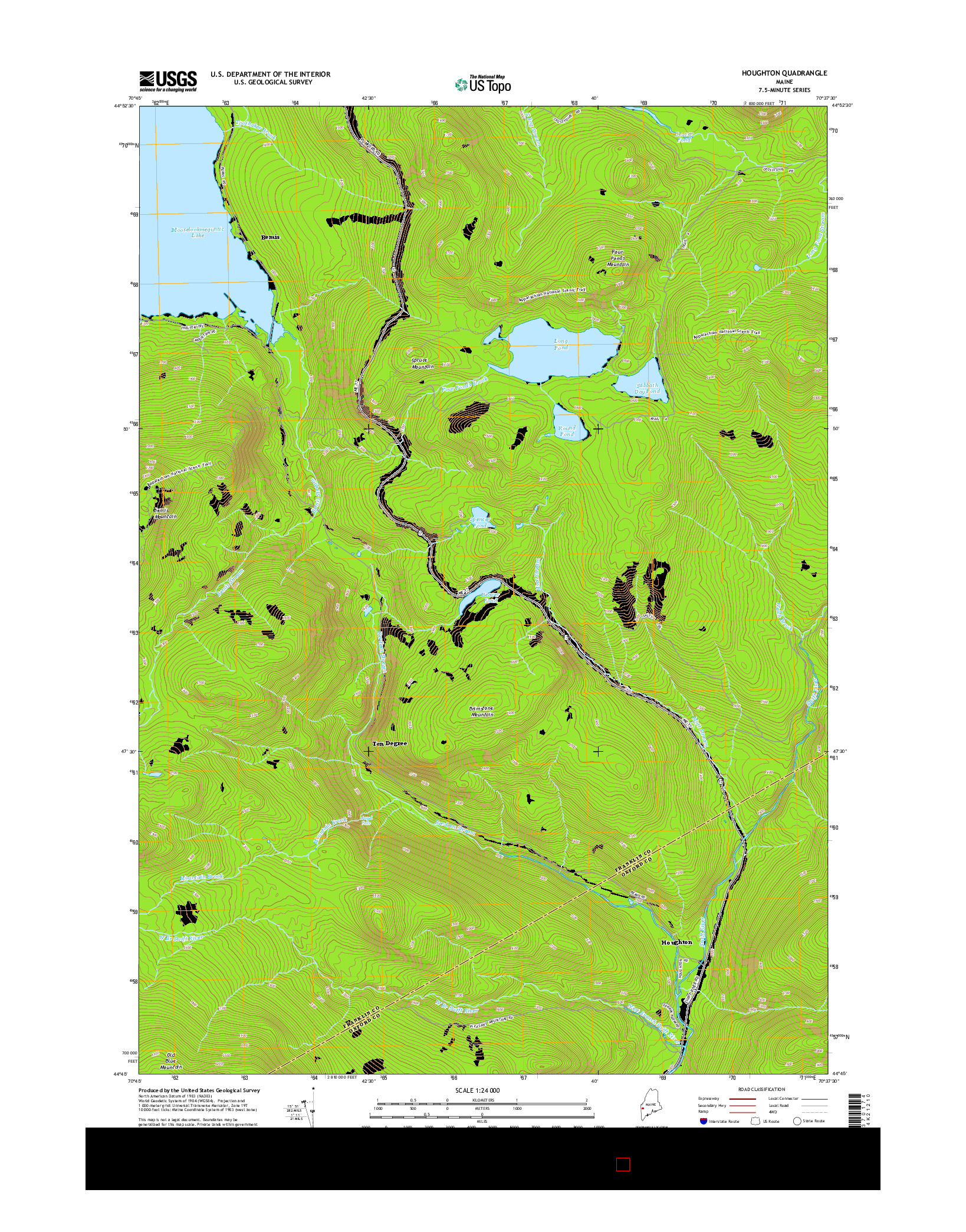 USGS US TOPO 7.5-MINUTE MAP FOR HOUGHTON, ME 2014