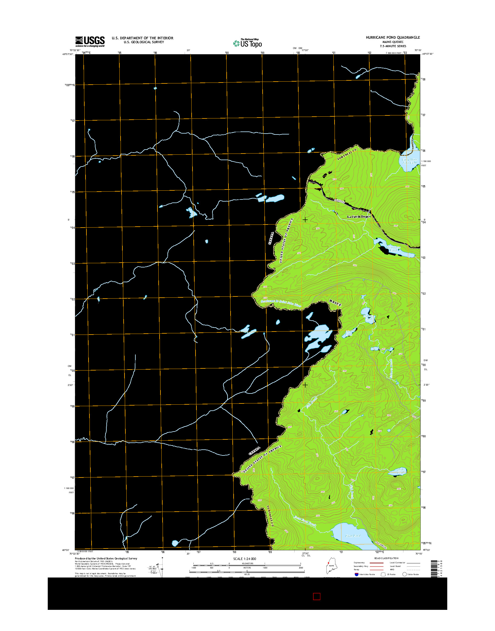 USGS US TOPO 7.5-MINUTE MAP FOR HURRICANE POND, ME-QC 2014