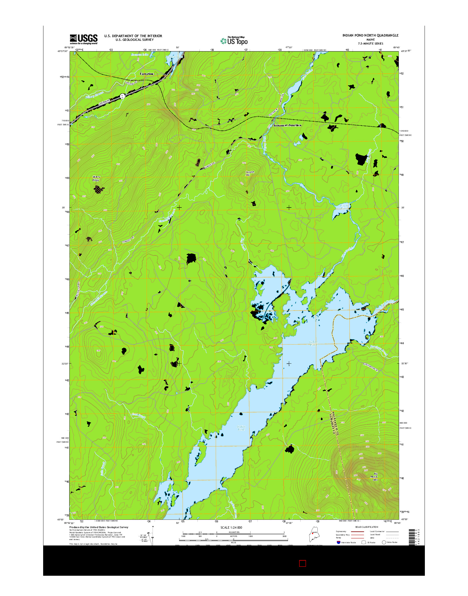 USGS US TOPO 7.5-MINUTE MAP FOR INDIAN POND NORTH, ME 2014