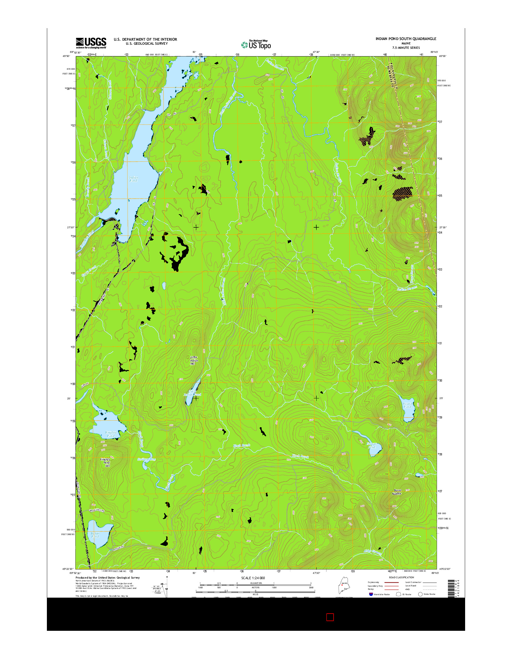 USGS US TOPO 7.5-MINUTE MAP FOR INDIAN POND SOUTH, ME 2014