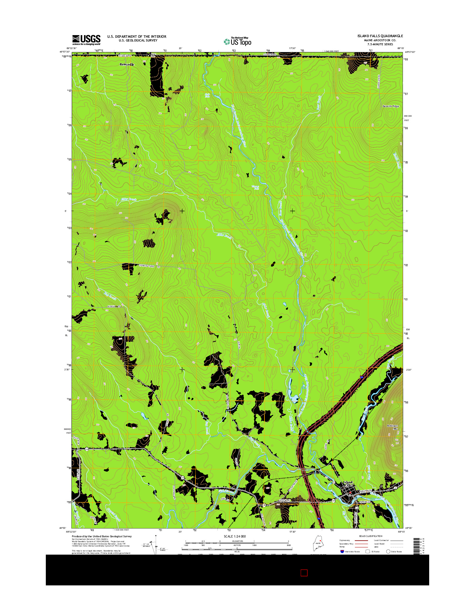 USGS US TOPO 7.5-MINUTE MAP FOR ISLAND FALLS, ME 2014