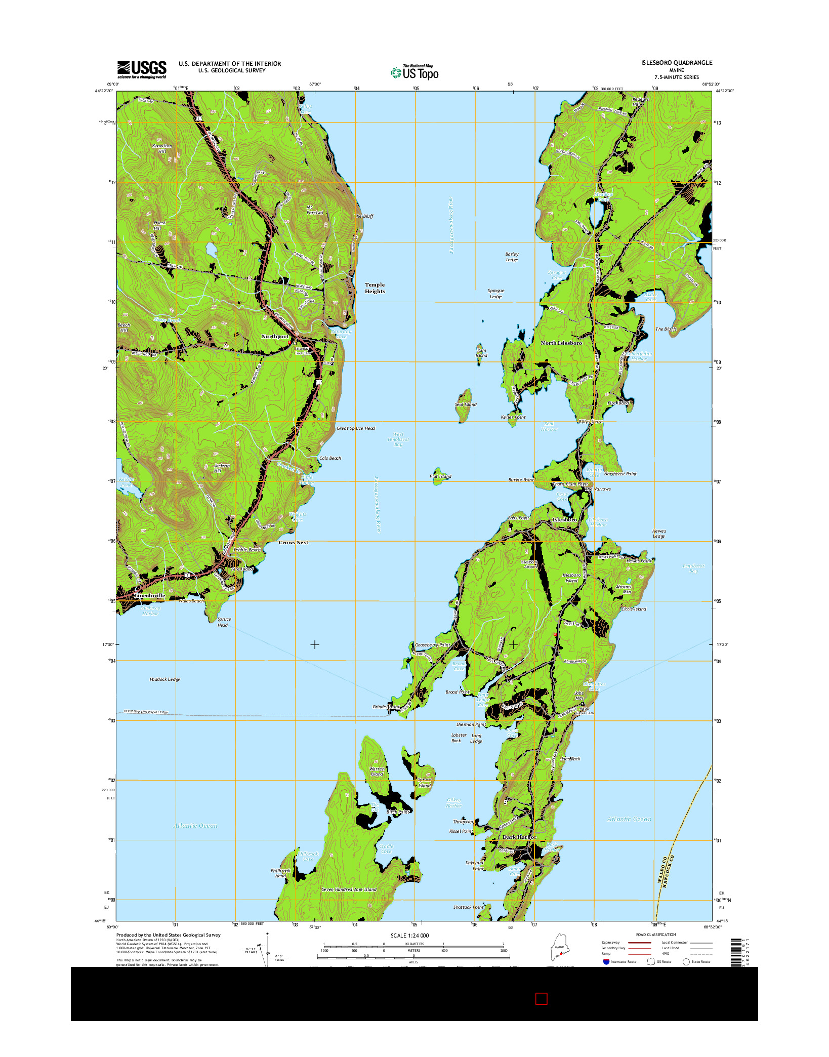 USGS US TOPO 7.5-MINUTE MAP FOR ISLESBORO, ME 2014