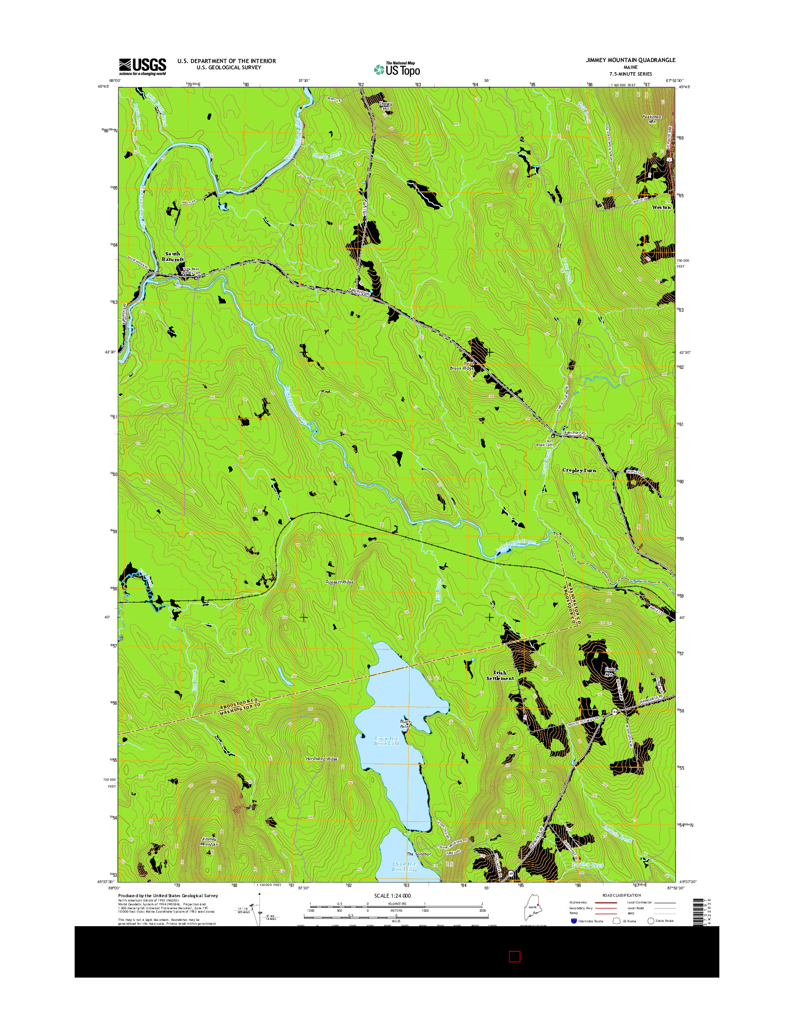 USGS US TOPO 7.5-MINUTE MAP FOR JIMMEY MOUNTAIN, ME 2014
