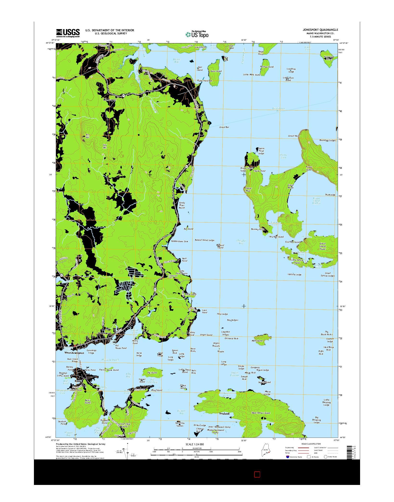 USGS US TOPO 7.5-MINUTE MAP FOR JONESPORT, ME 2014