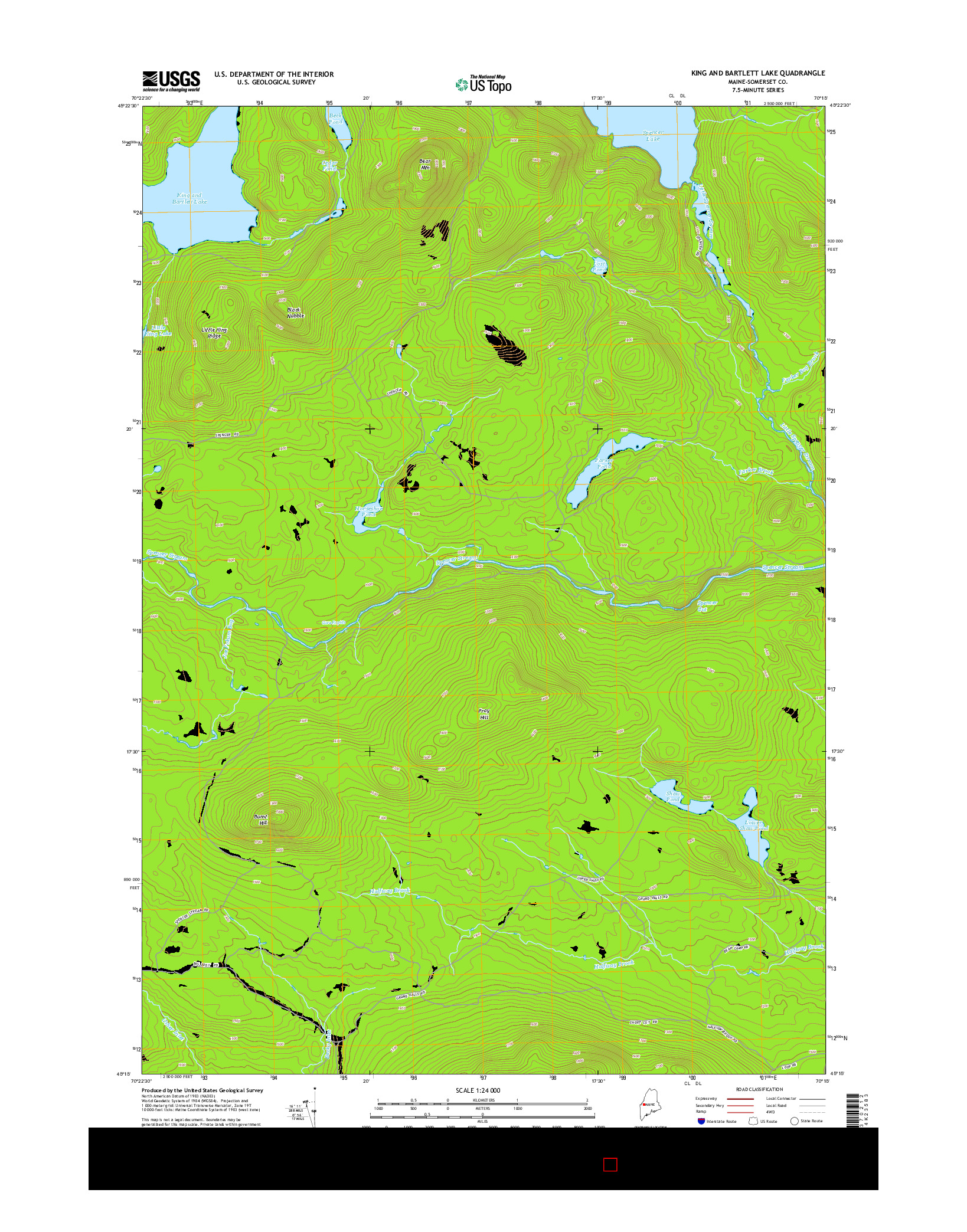 USGS US TOPO 7.5-MINUTE MAP FOR KING AND BARTLETT LAKE, ME 2014