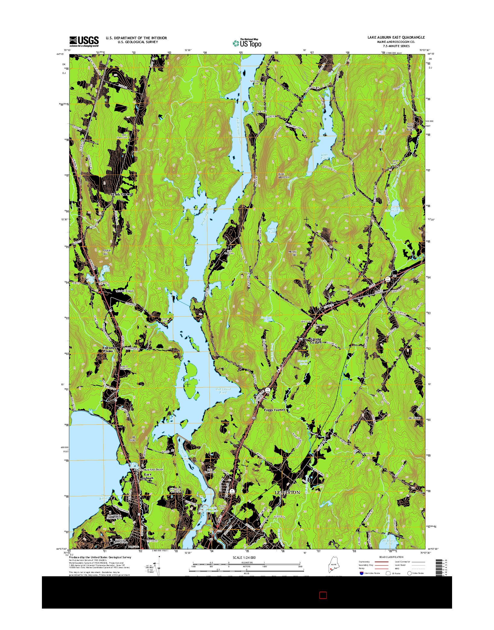 USGS US TOPO 7.5-MINUTE MAP FOR LAKE AUBURN EAST, ME 2014