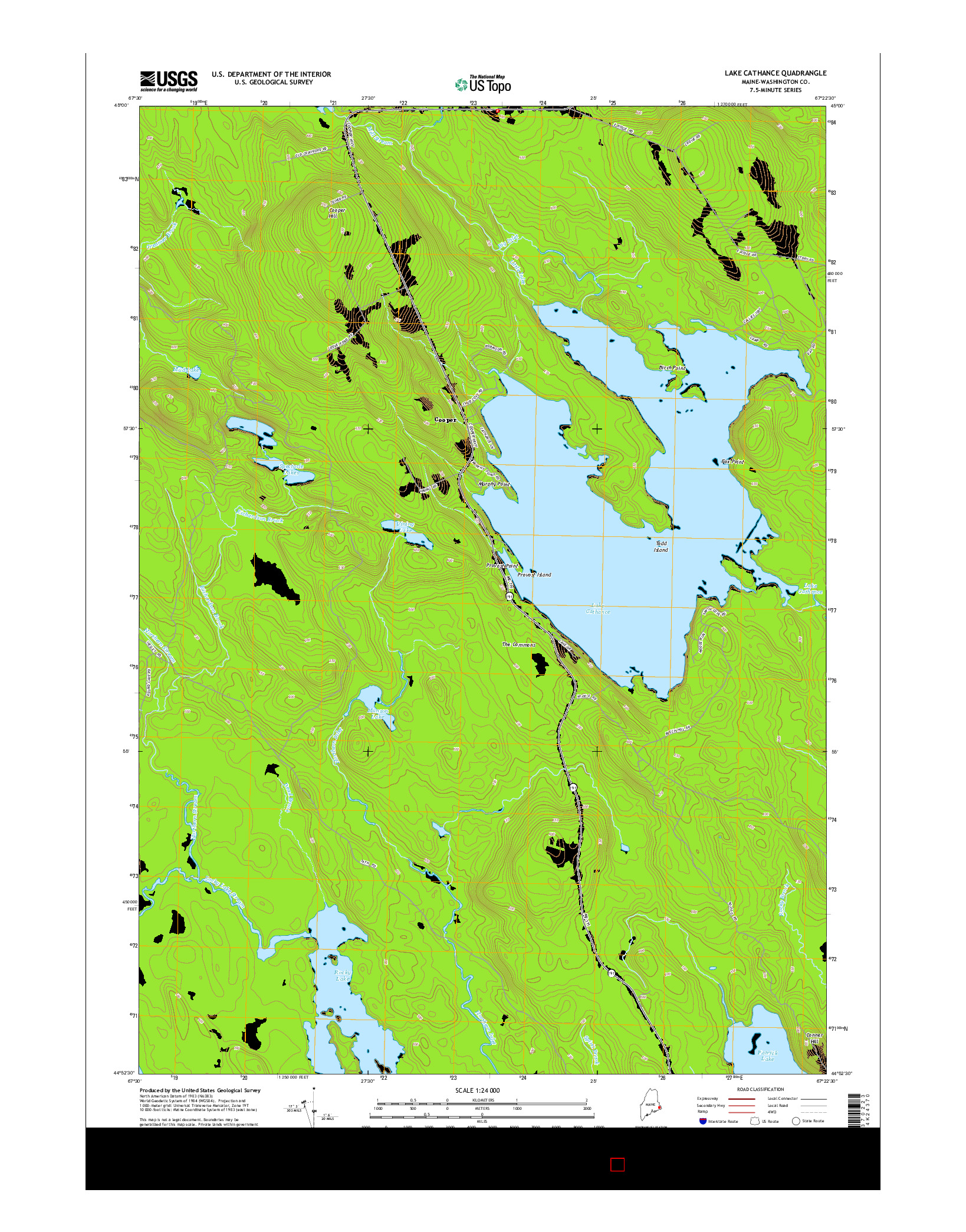 USGS US TOPO 7.5-MINUTE MAP FOR LAKE CATHANCE, ME 2014