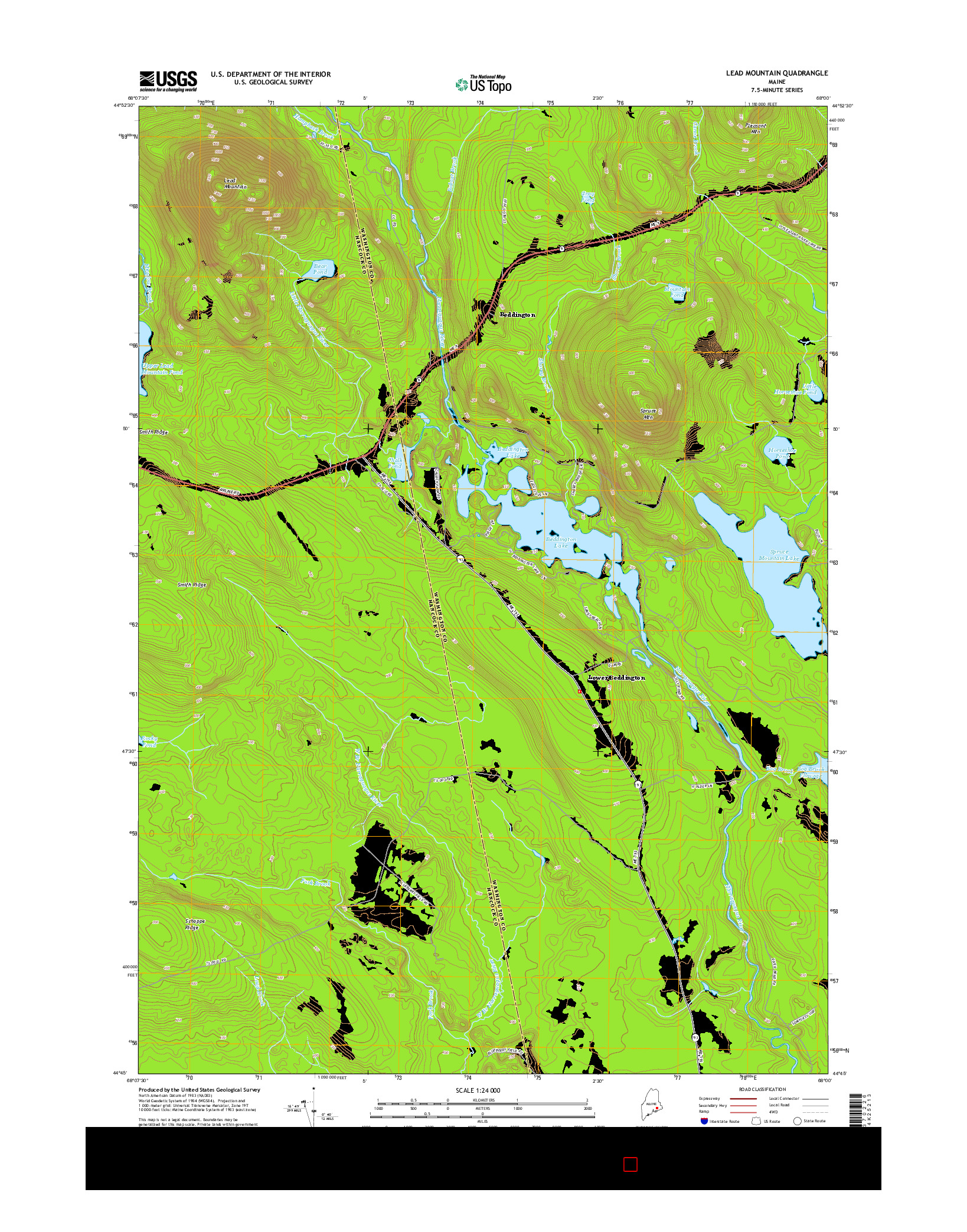 USGS US TOPO 7.5-MINUTE MAP FOR LEAD MOUNTAIN, ME 2014