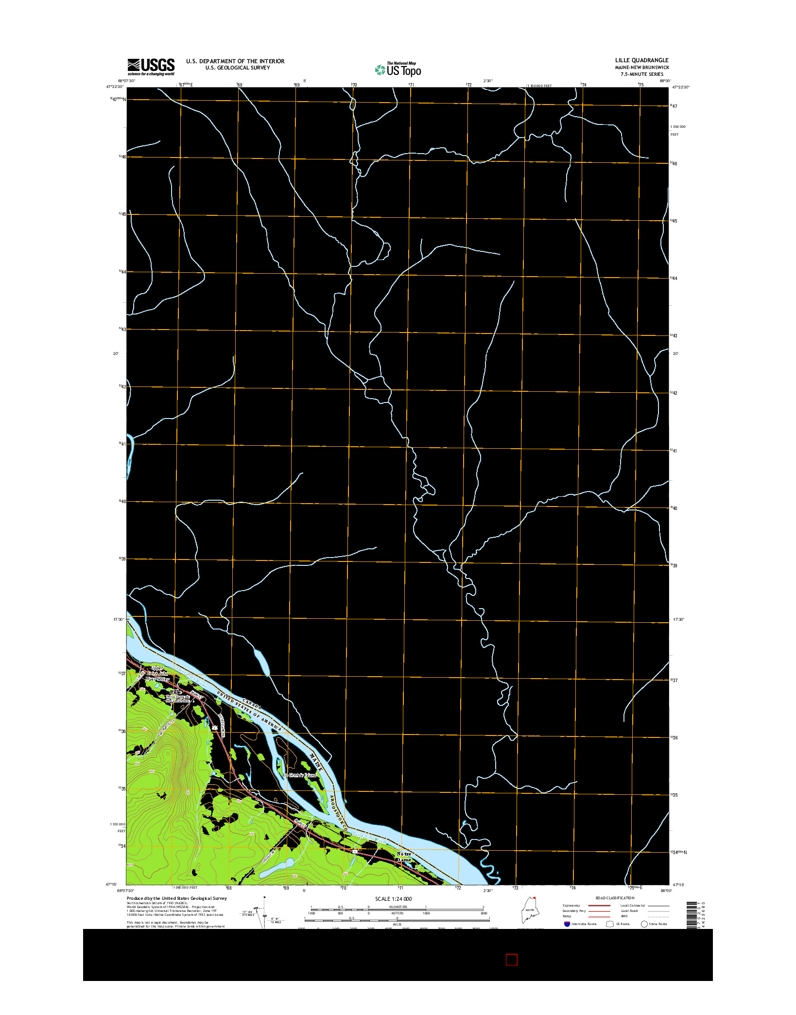 USGS US TOPO 7.5-MINUTE MAP FOR LILLE, ME-NB 2014