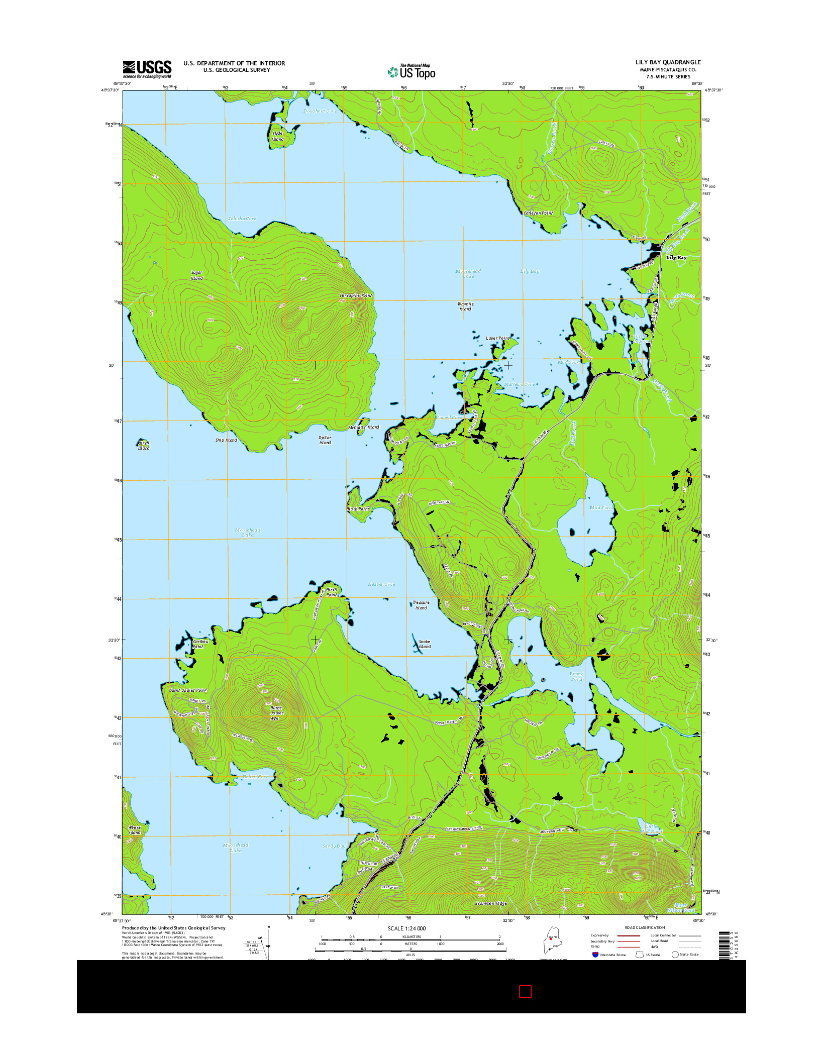 USGS US TOPO 7.5-MINUTE MAP FOR LILY BAY, ME 2014