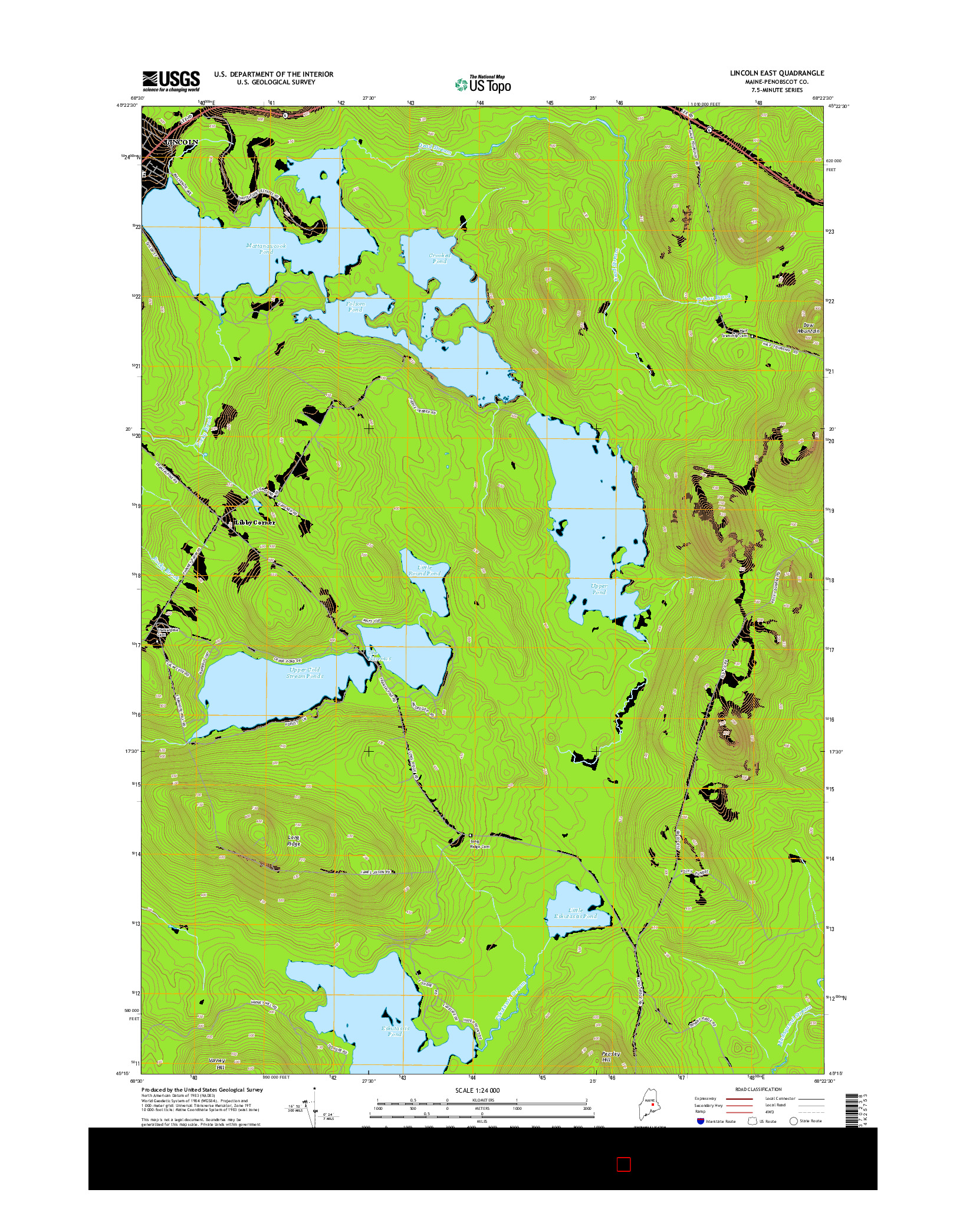 USGS US TOPO 7.5-MINUTE MAP FOR LINCOLN EAST, ME 2014