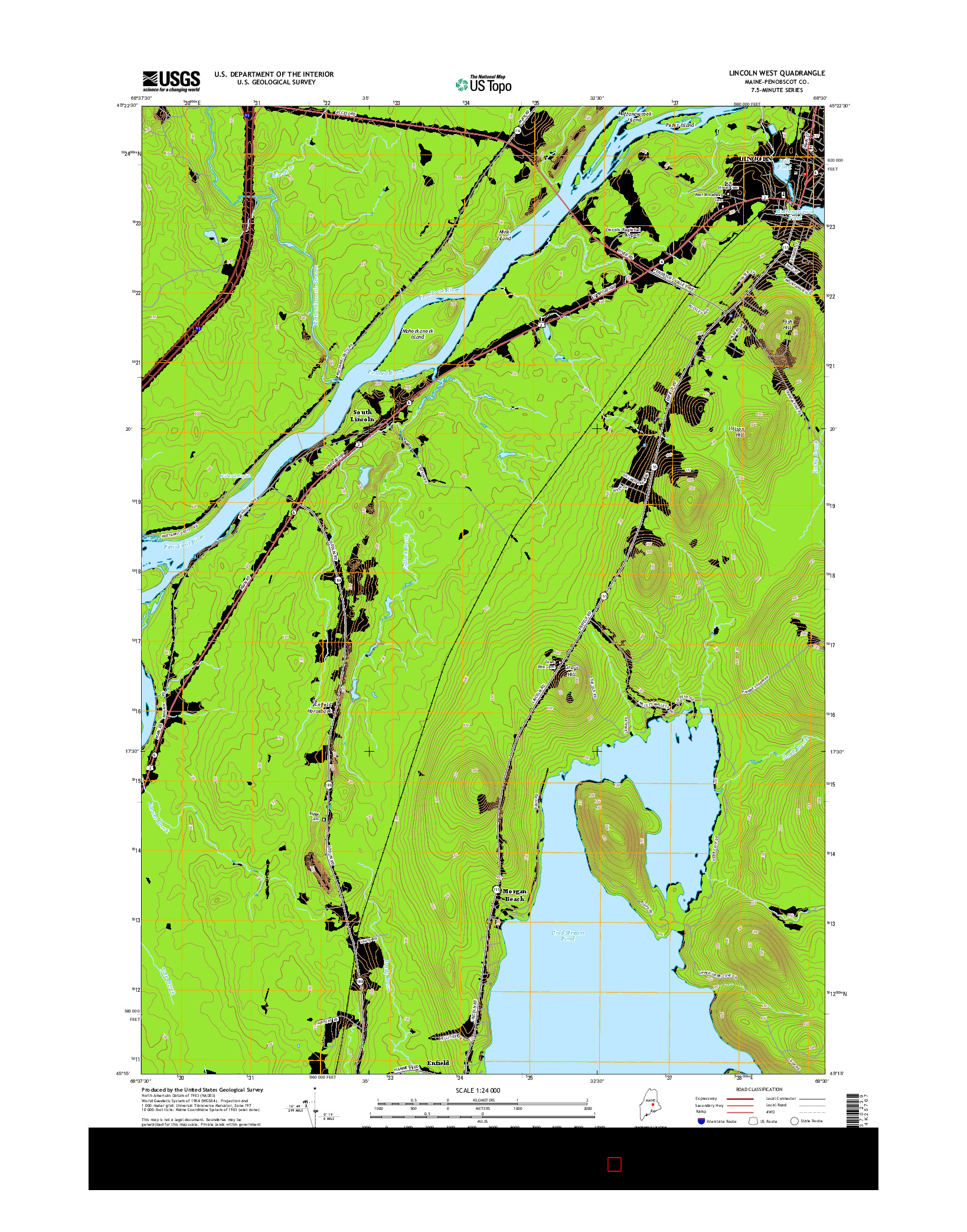 USGS US TOPO 7.5-MINUTE MAP FOR LINCOLN WEST, ME 2014