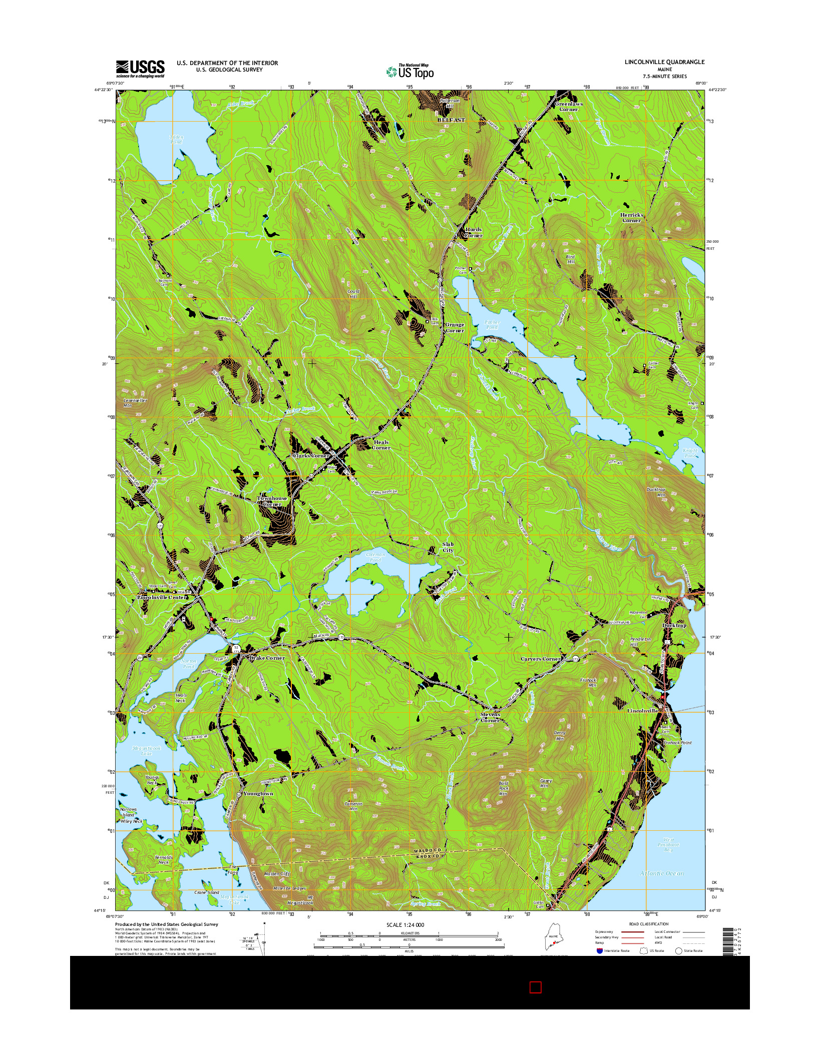 USGS US TOPO 7.5-MINUTE MAP FOR LINCOLNVILLE, ME 2014