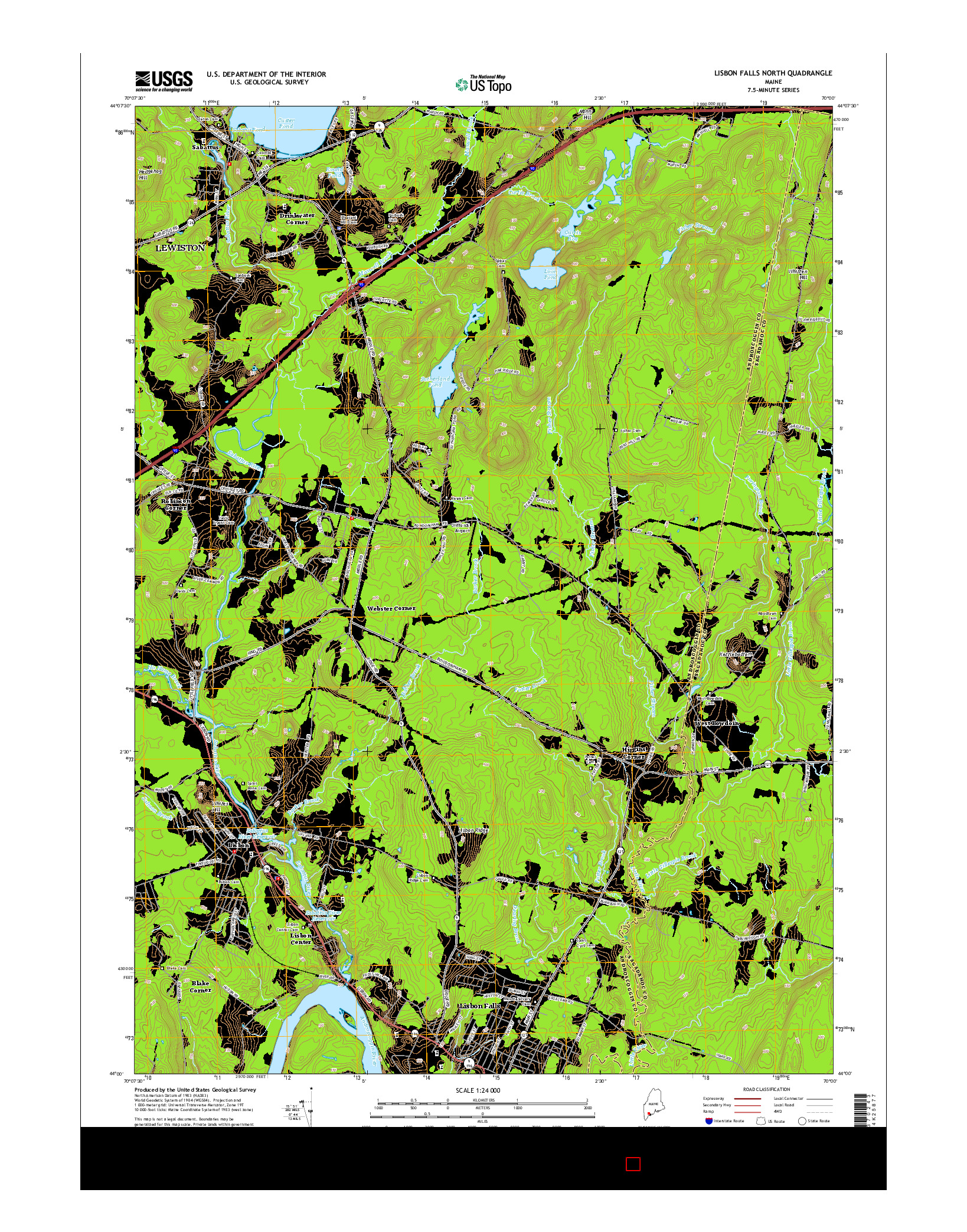 USGS US TOPO 7.5-MINUTE MAP FOR LISBON FALLS NORTH, ME 2014