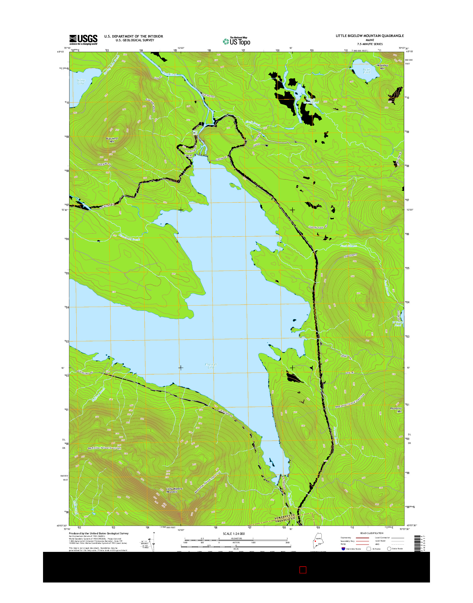 USGS US TOPO 7.5-MINUTE MAP FOR LITTLE BIGELOW MOUNTAIN, ME 2014