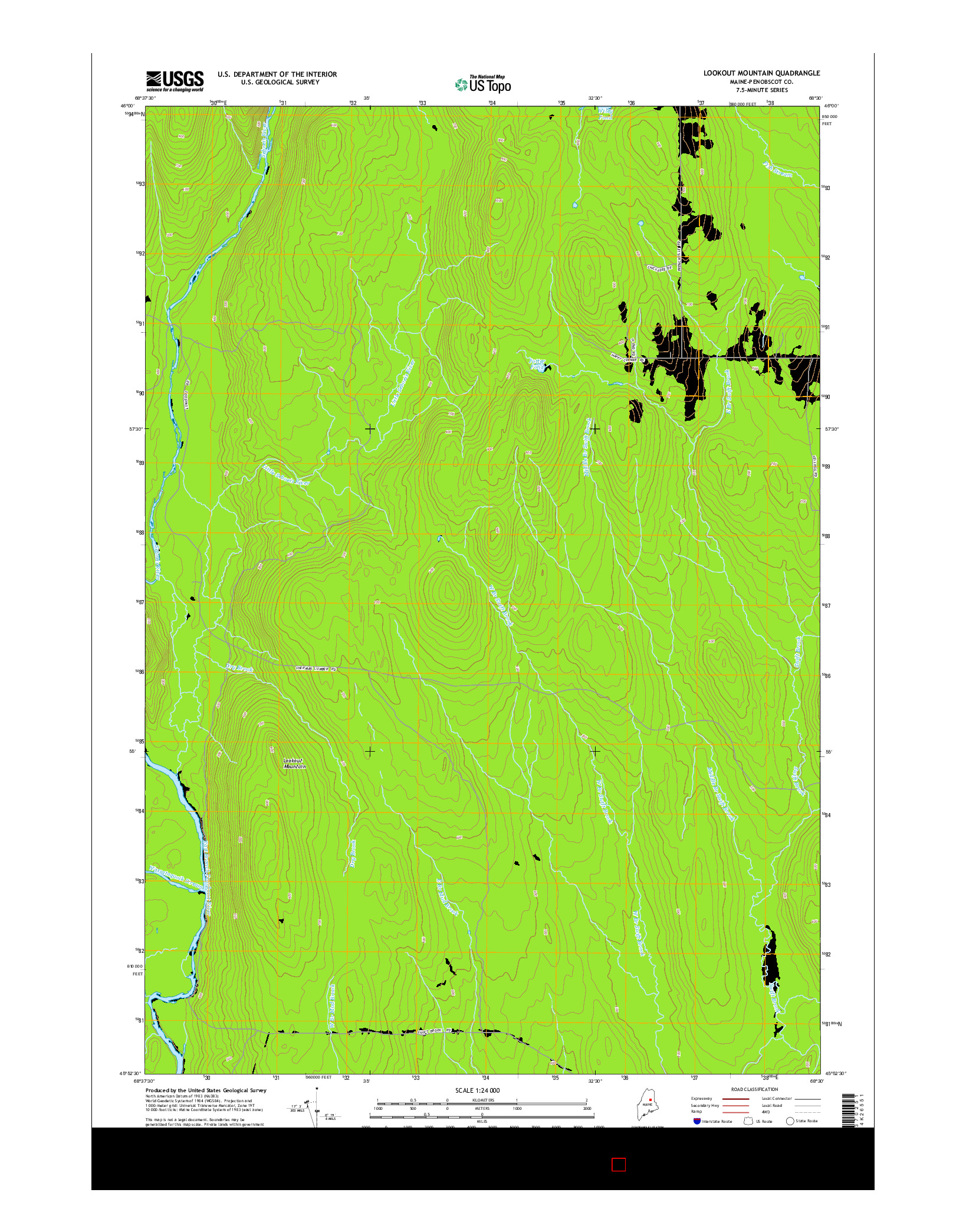 USGS US TOPO 7.5-MINUTE MAP FOR LOOKOUT MOUNTAIN, ME 2014