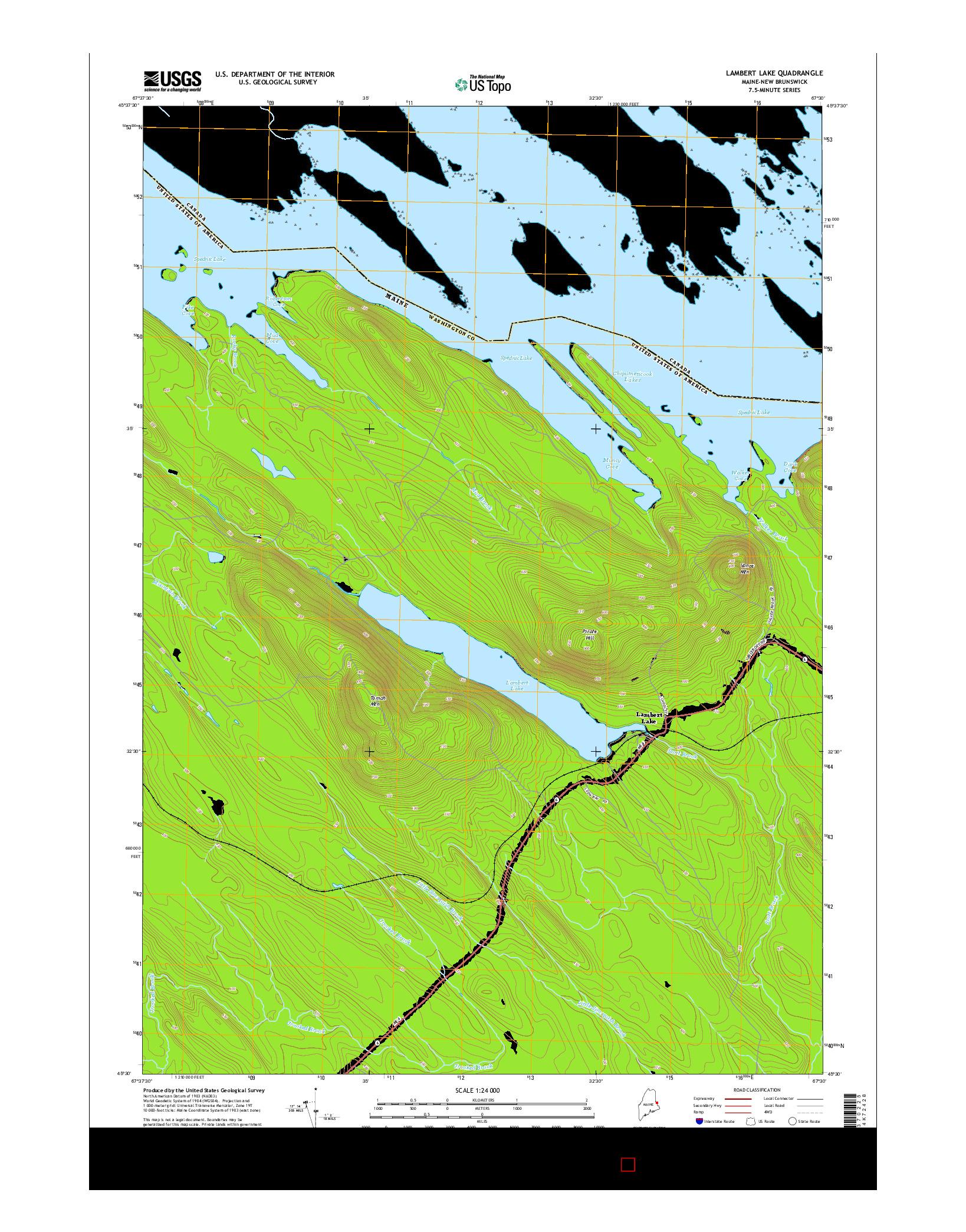 USGS US TOPO 7.5-MINUTE MAP FOR LAMBERT LAKE, ME-NB 2014