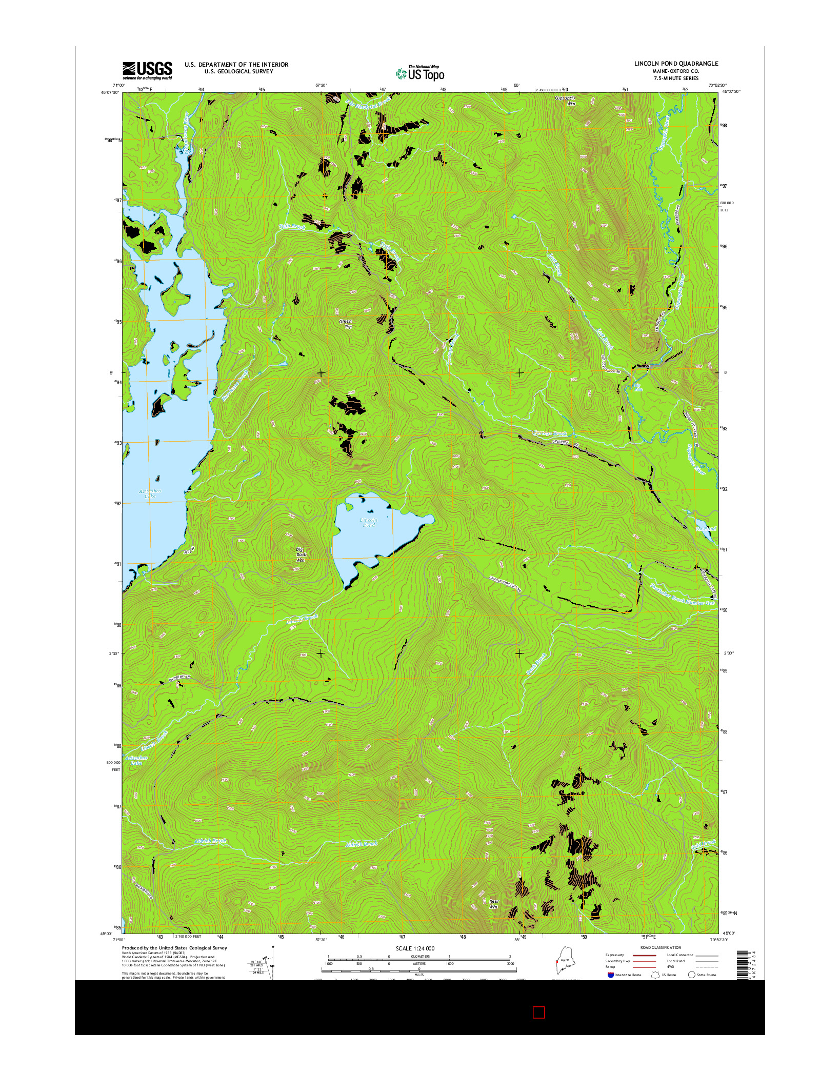 USGS US TOPO 7.5-MINUTE MAP FOR LINCOLN POND, ME 2014