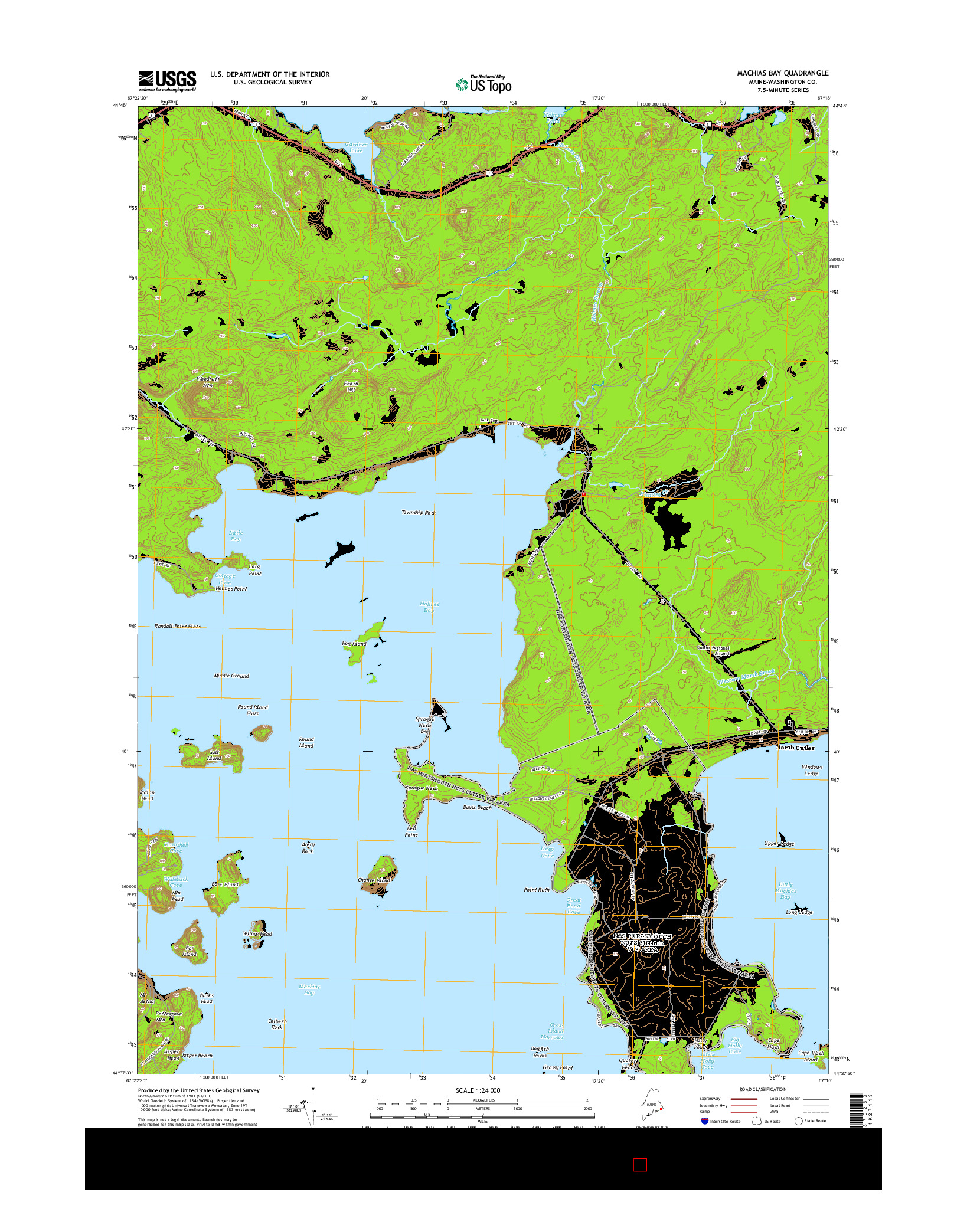 USGS US TOPO 7.5-MINUTE MAP FOR MACHIAS BAY, ME 2014