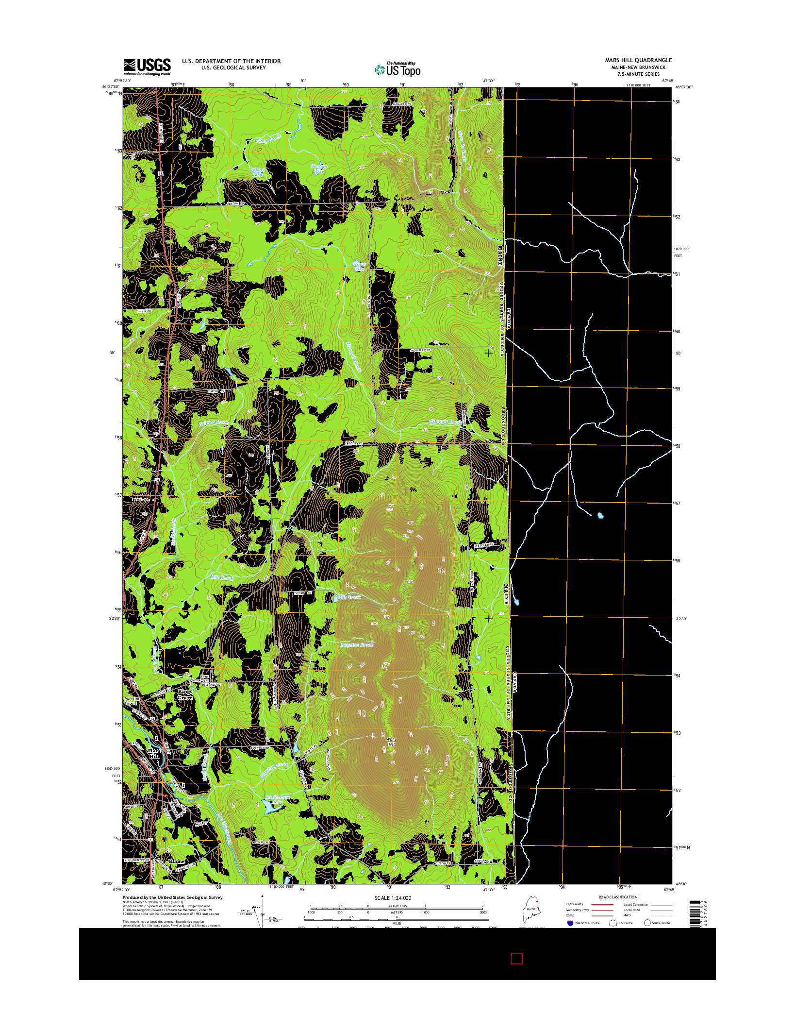 USGS US TOPO 7.5-MINUTE MAP FOR MARS HILL, ME-NB 2014