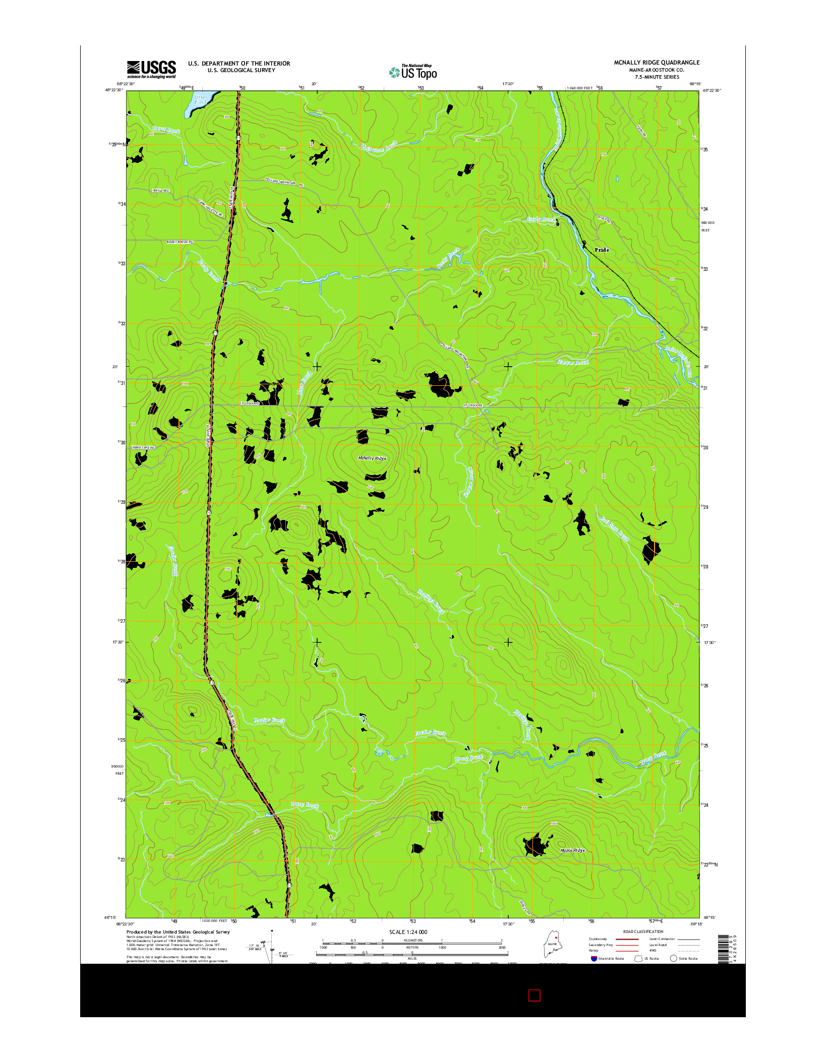 USGS US TOPO 7.5-MINUTE MAP FOR MCNALLY RIDGE, ME 2014