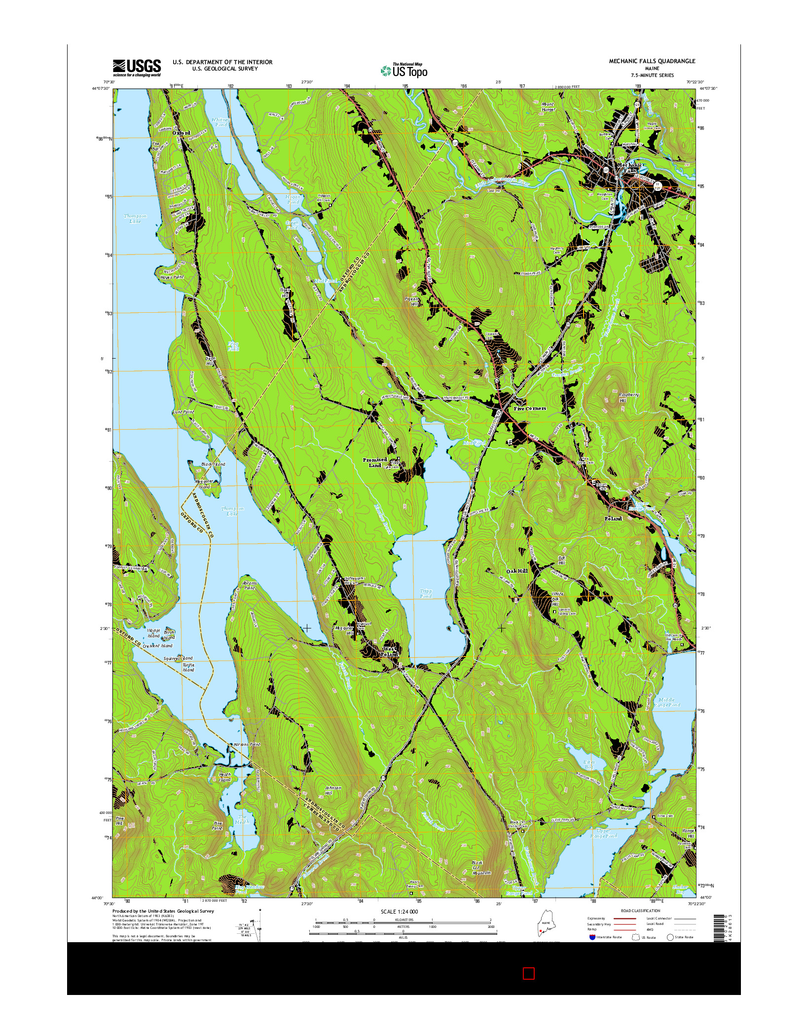 USGS US TOPO 7.5-MINUTE MAP FOR MECHANIC FALLS, ME 2014
