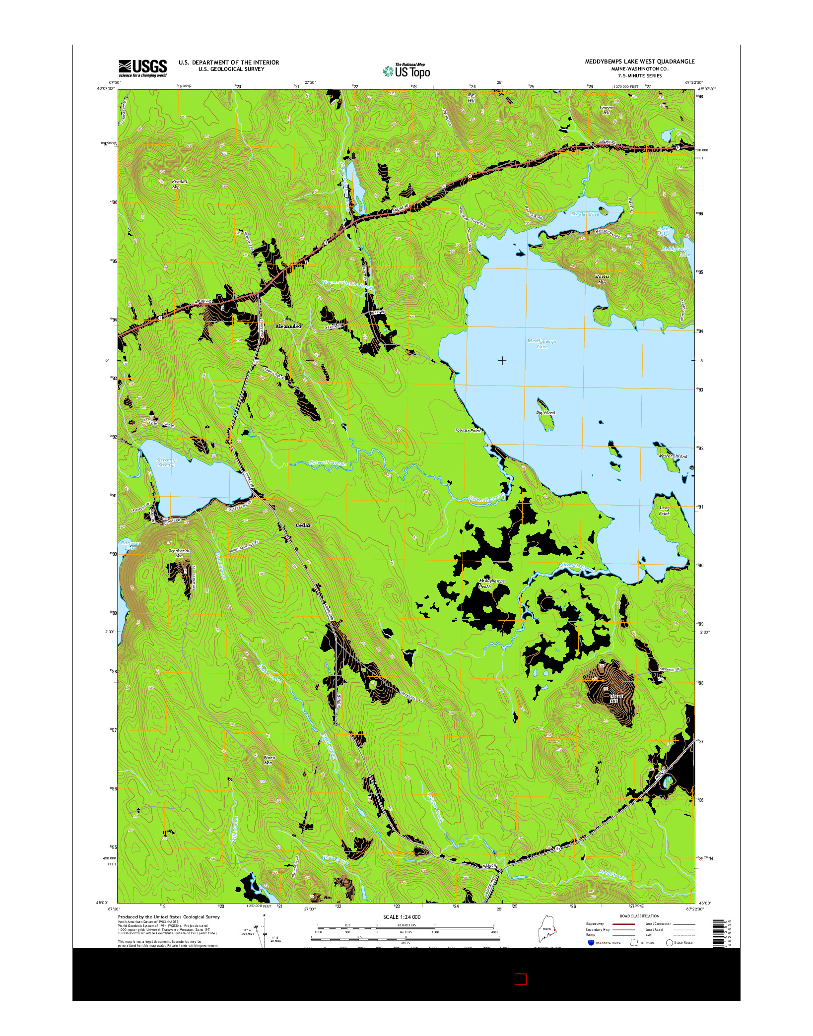 USGS US TOPO 7.5-MINUTE MAP FOR MEDDYBEMPS LAKE WEST, ME 2014
