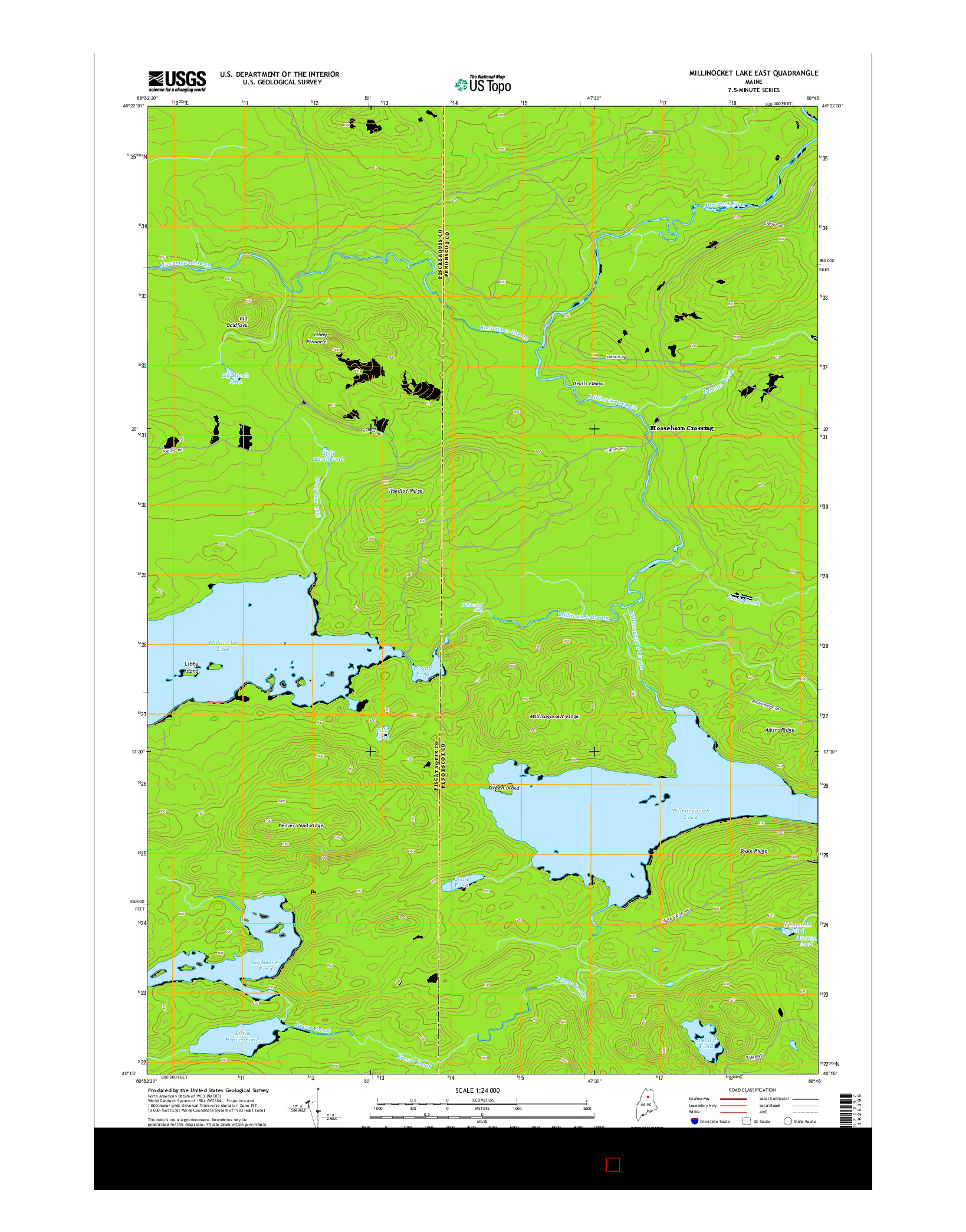 USGS US TOPO 7.5-MINUTE MAP FOR MILLINOCKET LAKE EAST, ME 2014