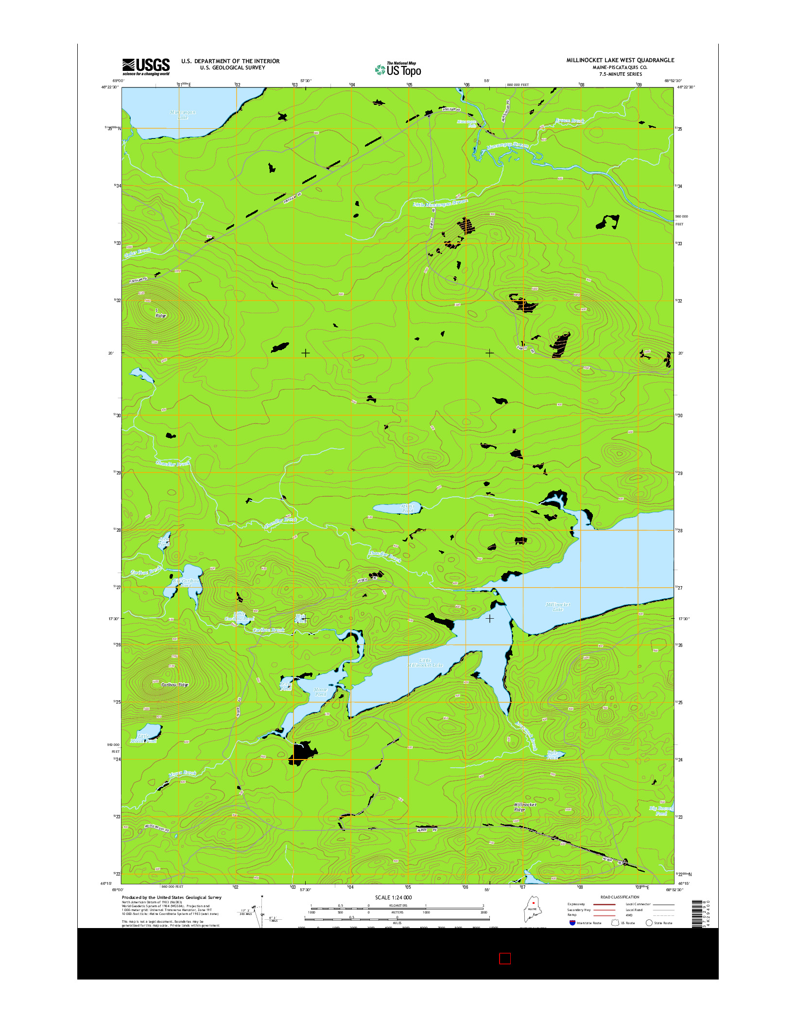 USGS US TOPO 7.5-MINUTE MAP FOR MILLINOCKET LAKE WEST, ME 2014