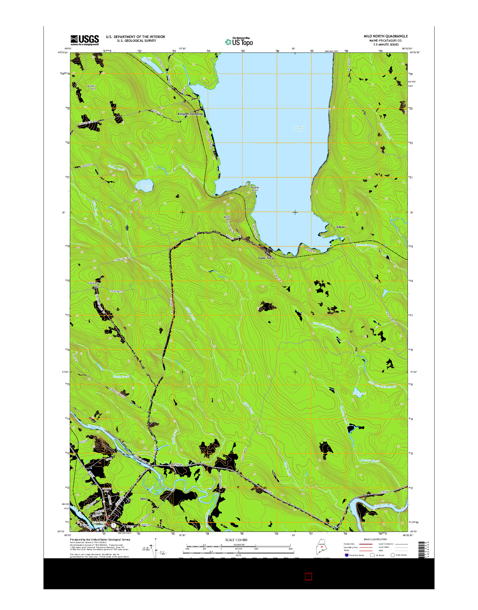 USGS US TOPO 7.5-MINUTE MAP FOR MILO NORTH, ME 2014