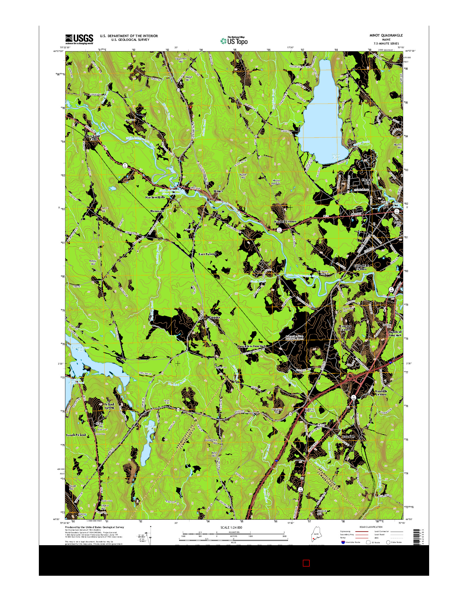 USGS US TOPO 7.5-MINUTE MAP FOR MINOT, ME 2014