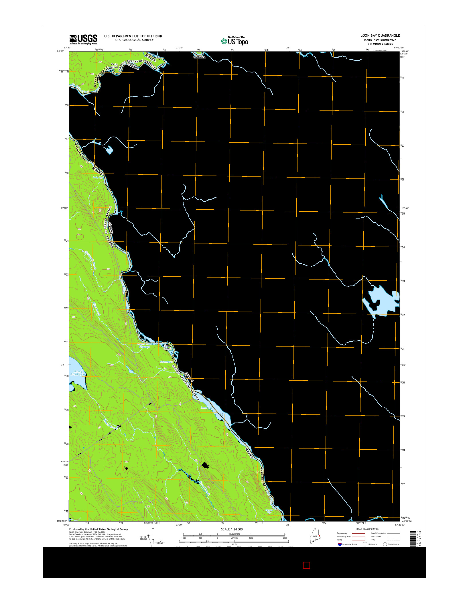 USGS US TOPO 7.5-MINUTE MAP FOR LOON BAY, ME-NB 2014