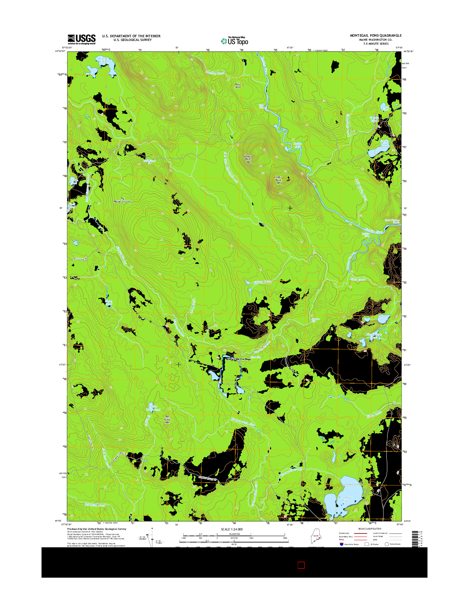 USGS US TOPO 7.5-MINUTE MAP FOR MONTEGAIL POND, ME 2014