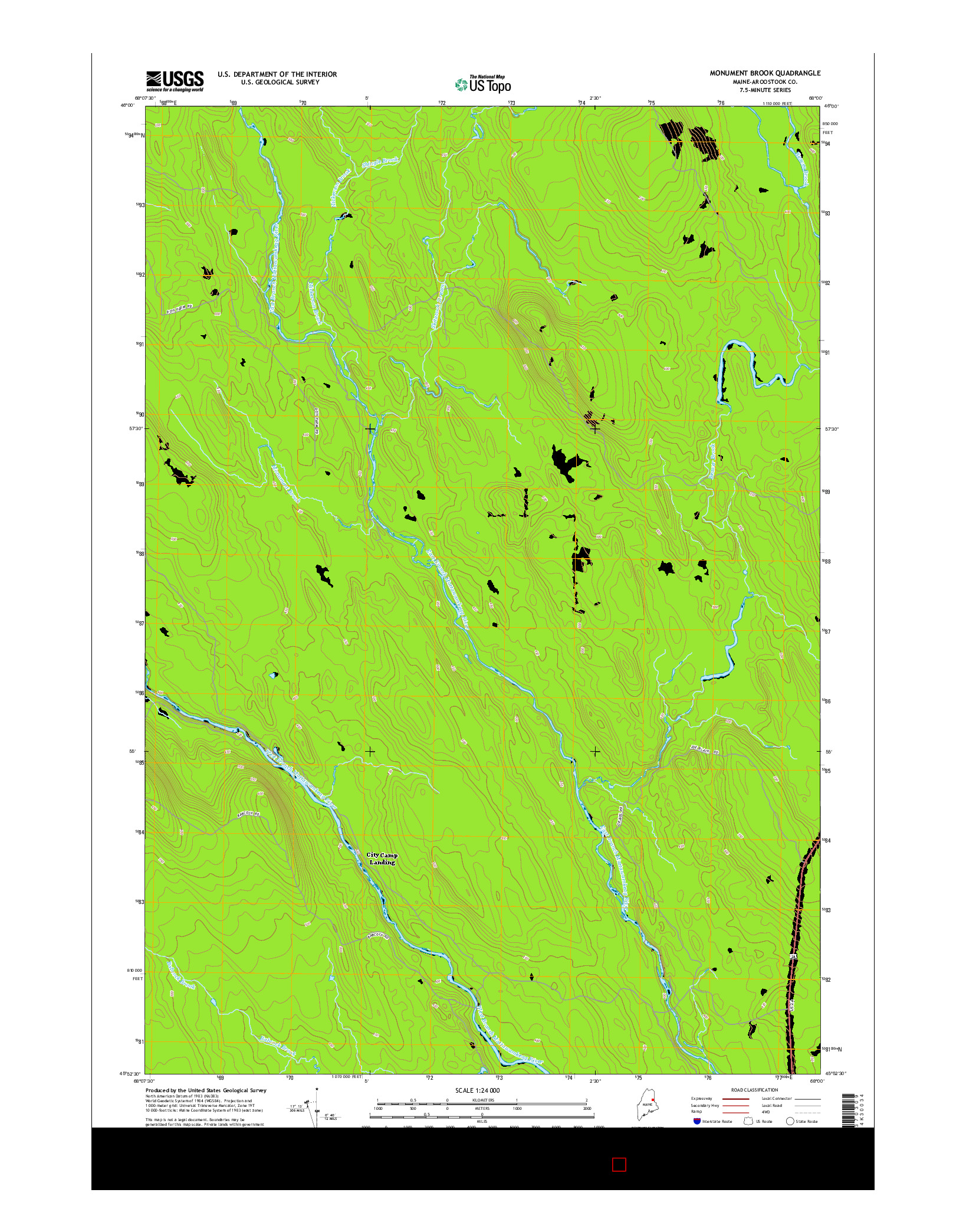 USGS US TOPO 7.5-MINUTE MAP FOR MONUMENT BROOK, ME 2014