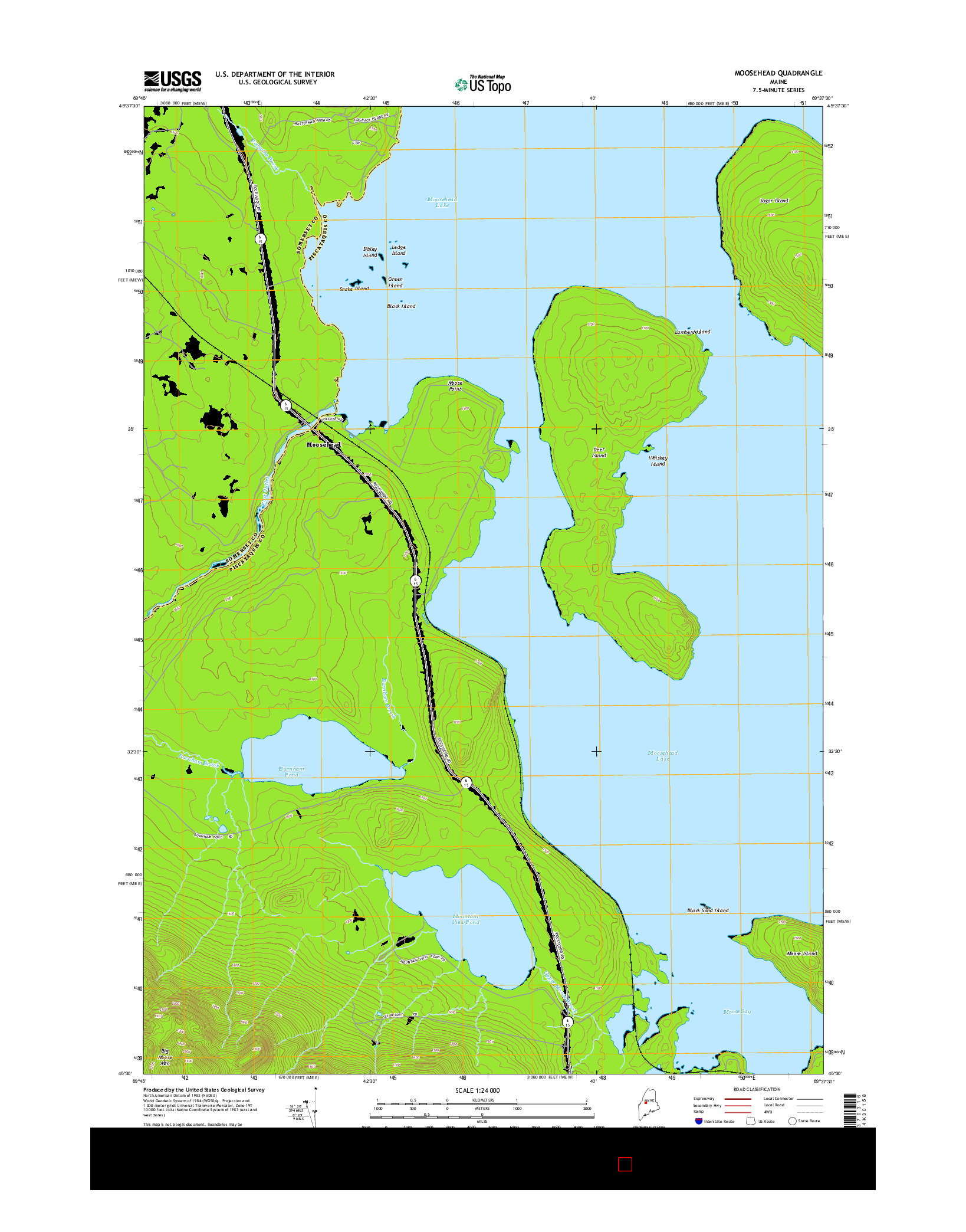 USGS US TOPO 7.5-MINUTE MAP FOR MOOSEHEAD, ME 2014