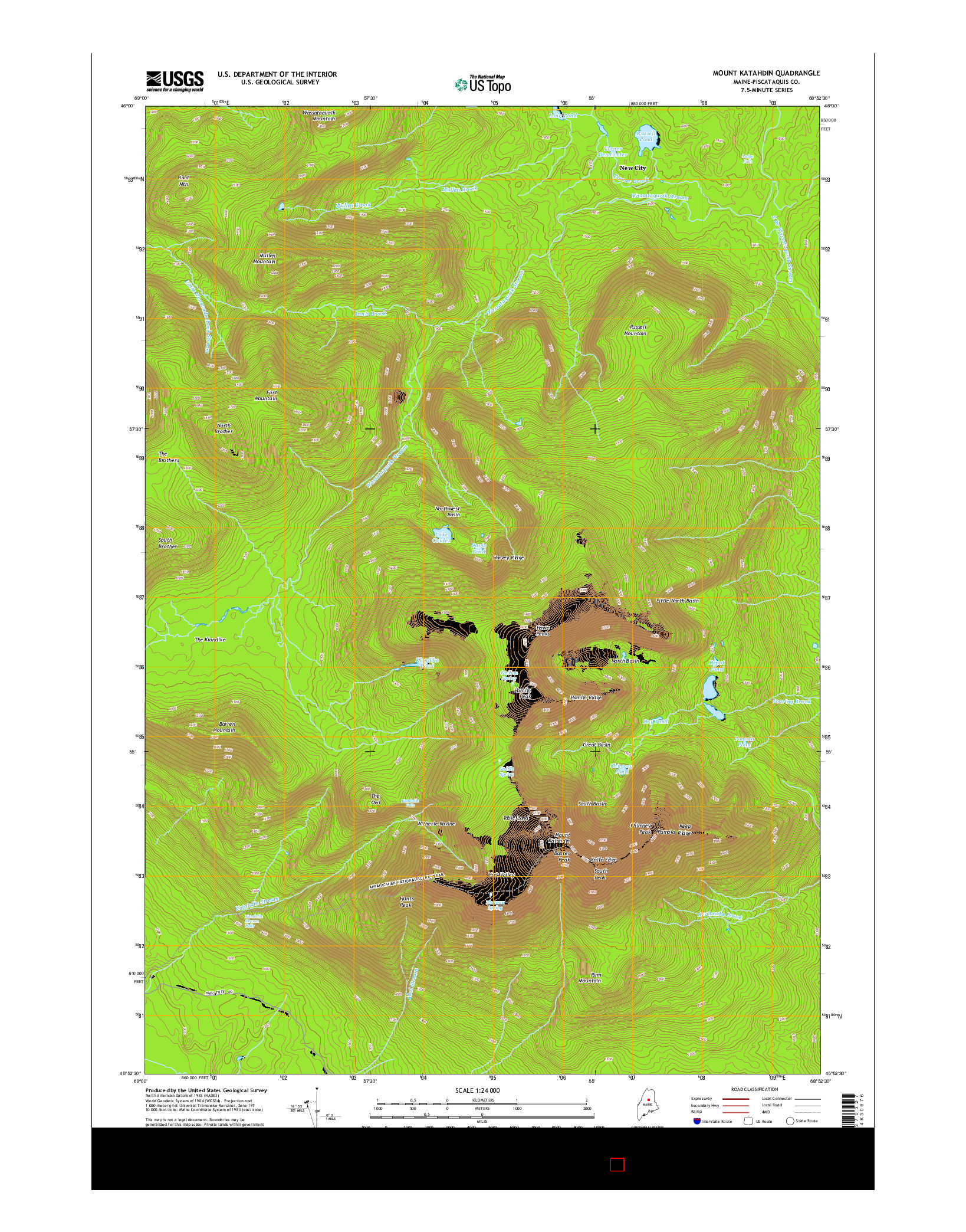 USGS US TOPO 7.5-MINUTE MAP FOR MOUNT KATAHDIN, ME 2014