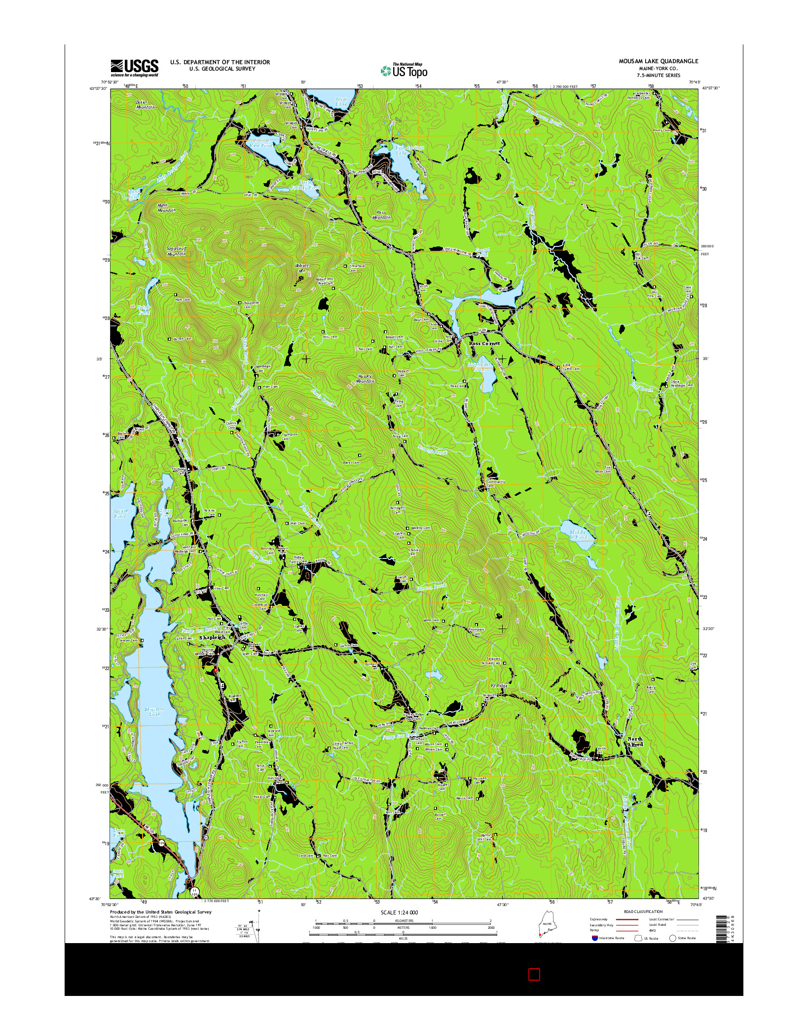 USGS US TOPO 7.5-MINUTE MAP FOR MOUSAM LAKE, ME 2014